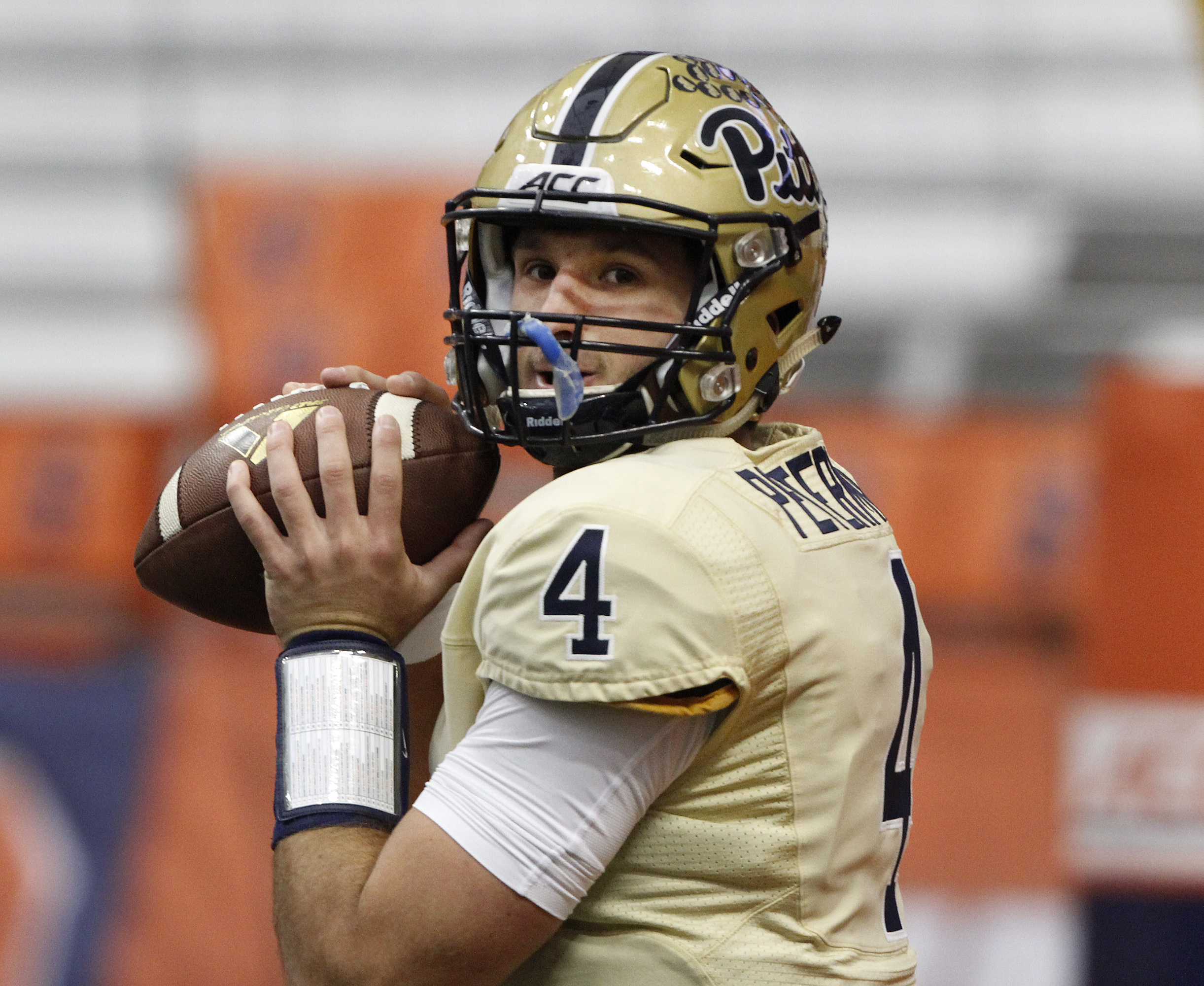 FILE - In this Oct. 24, 2015, file photo, Pittsburghs Nate Peterman warms up before an NCAA college football game against Syracuse in Syracuse, N.Y. The Panthers began the Pat Narduzzi era with a promising 8-5 mark last fall. Enthusiasm surrounding the pr
