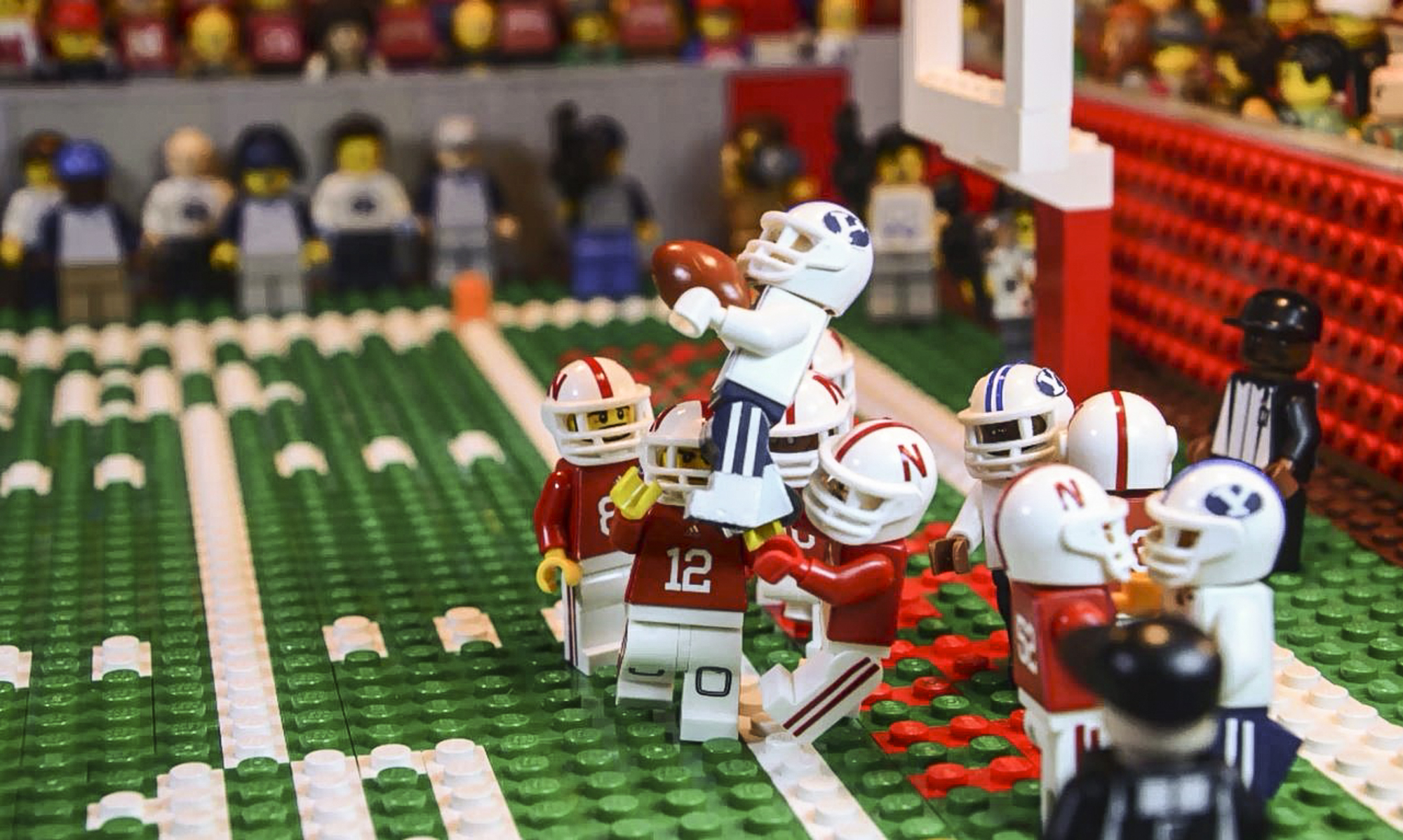 This undated image taken from video provided by Lego animator Jared Jacobs shows a frame from a video he created of BYU's Mitch Mathews catching a 42-yard pass by BYU quarterback Tanner Mangum with no time left to beat Nebraska 33-28 in Lincoln, Neb., las
