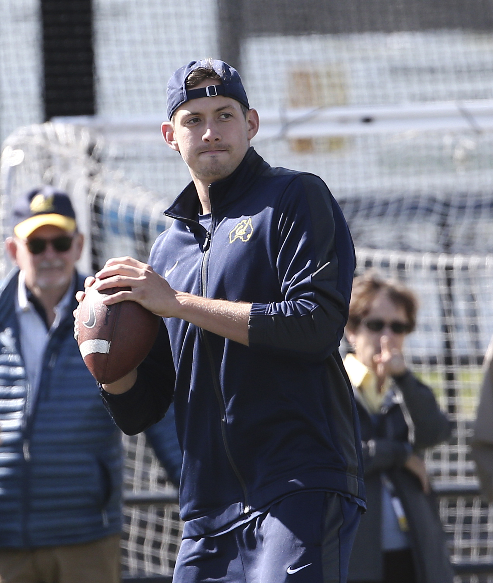 Cal Bears quarterback Davis Webb prepares to throws a ball during a walk through training session at a field in Sydney Thursday, Aug. 25, 2016. Cal will play Hawaii in the first college football game of the 2016 season at the College Football Sydney Cup o
