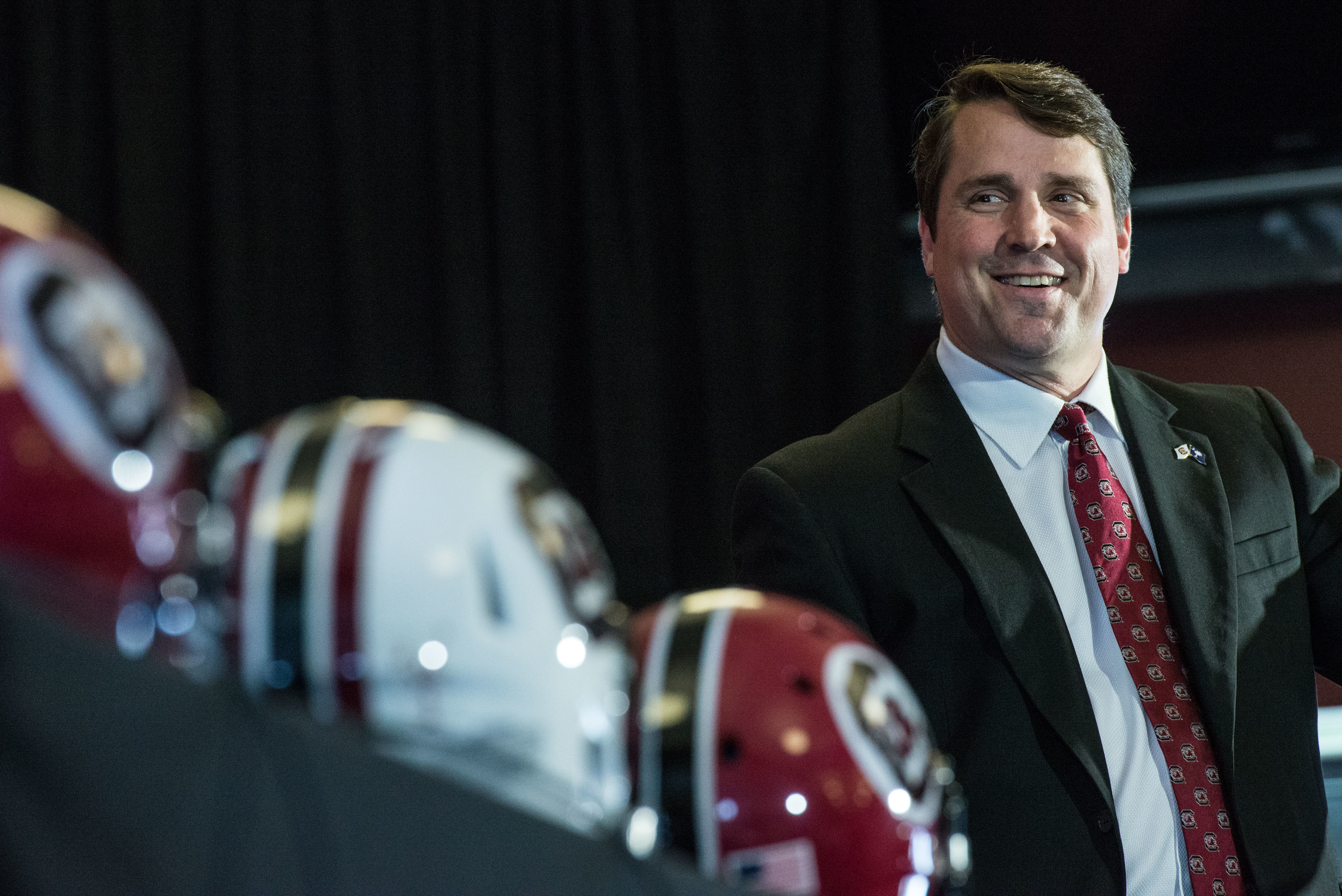 FILE - In this Dec. 7, 2015, file photo, new South Carolina coach Will Muschamp talks to the media during an NCAA college head football news conference at Williams Brice Stadium in Columbia, S.C. Muschamp is only a few days away from his second chance lea