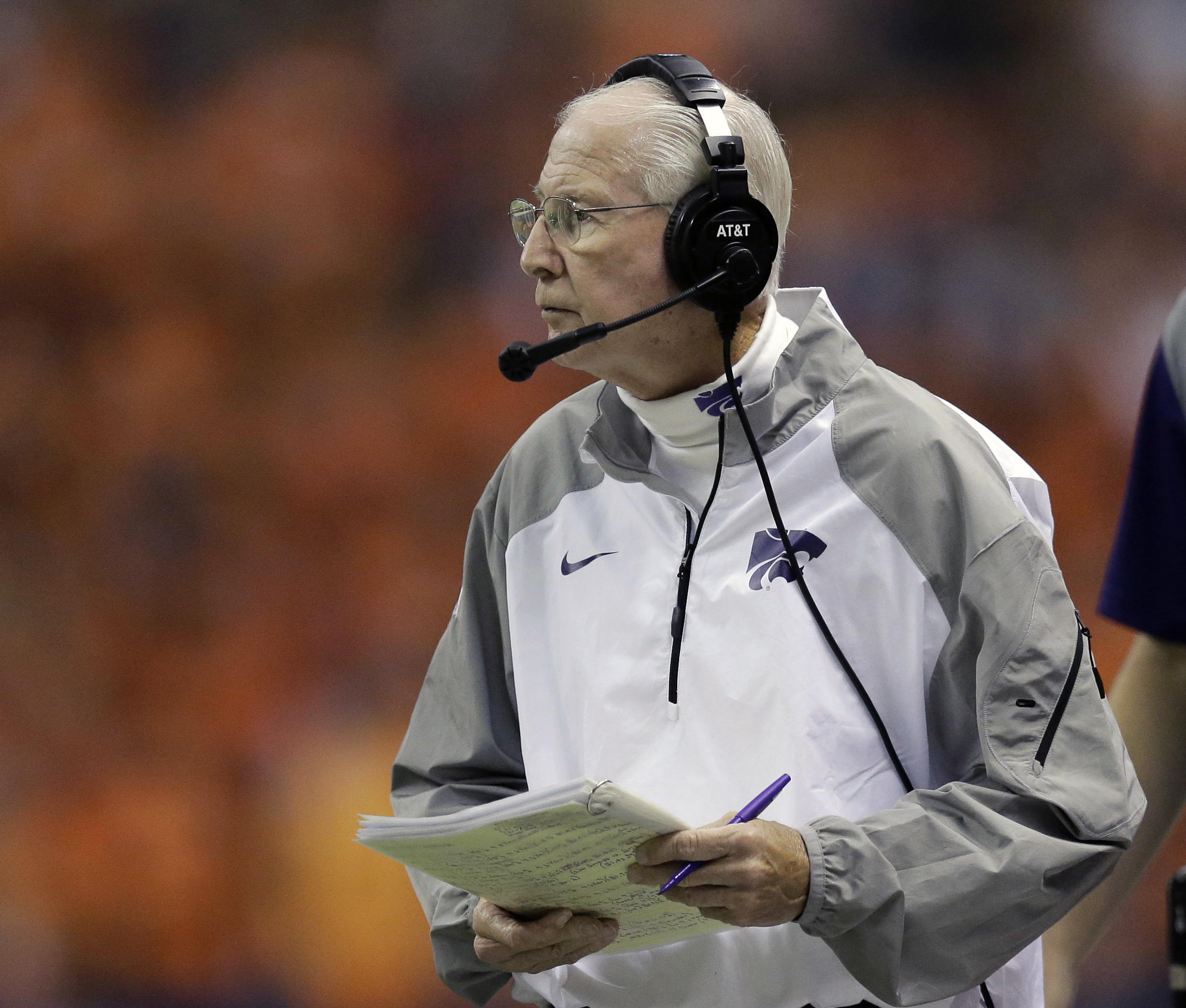 FILE - In this Sept. 12, 2015, file photo, Kansas State head coach Bill Snyder watches from the sideline during the first half of an NCAA college football game against UTSA, in San Antonio. Kansas State has earned a reputation for soft scheduling under Bi