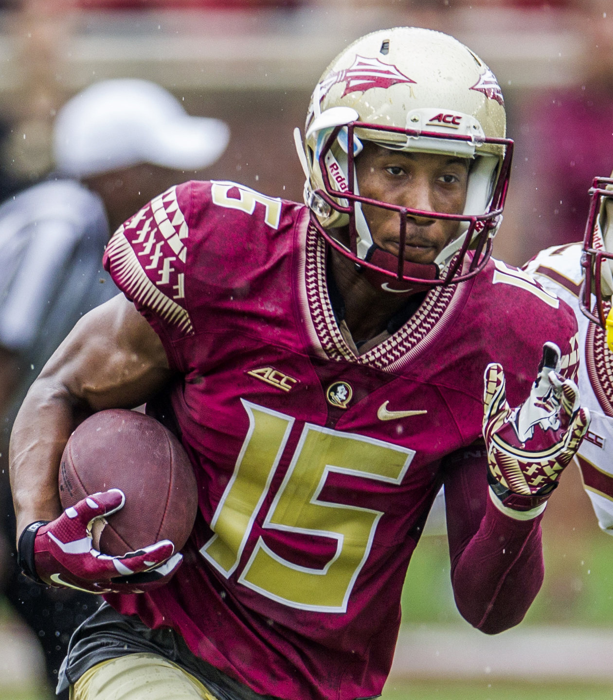 FILE - In this April 11, 2015, file photo, Florida State wide receiver Travis Rudolph run in the first half of the Florida State Garnet & Gold spring college football game in Tallahassee, Fla. A small gesture of kindness by Florida State University wide r
