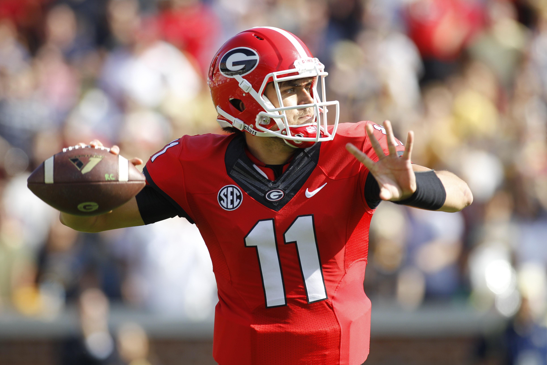 Georgia quarterback Greyson Lambert passes the ball in the first half of an NCAA college football game against Georgia Tech on Saturday, Nov. 28, 2015, in Atlanta, Ga. (AP Photo/Brett Davis)