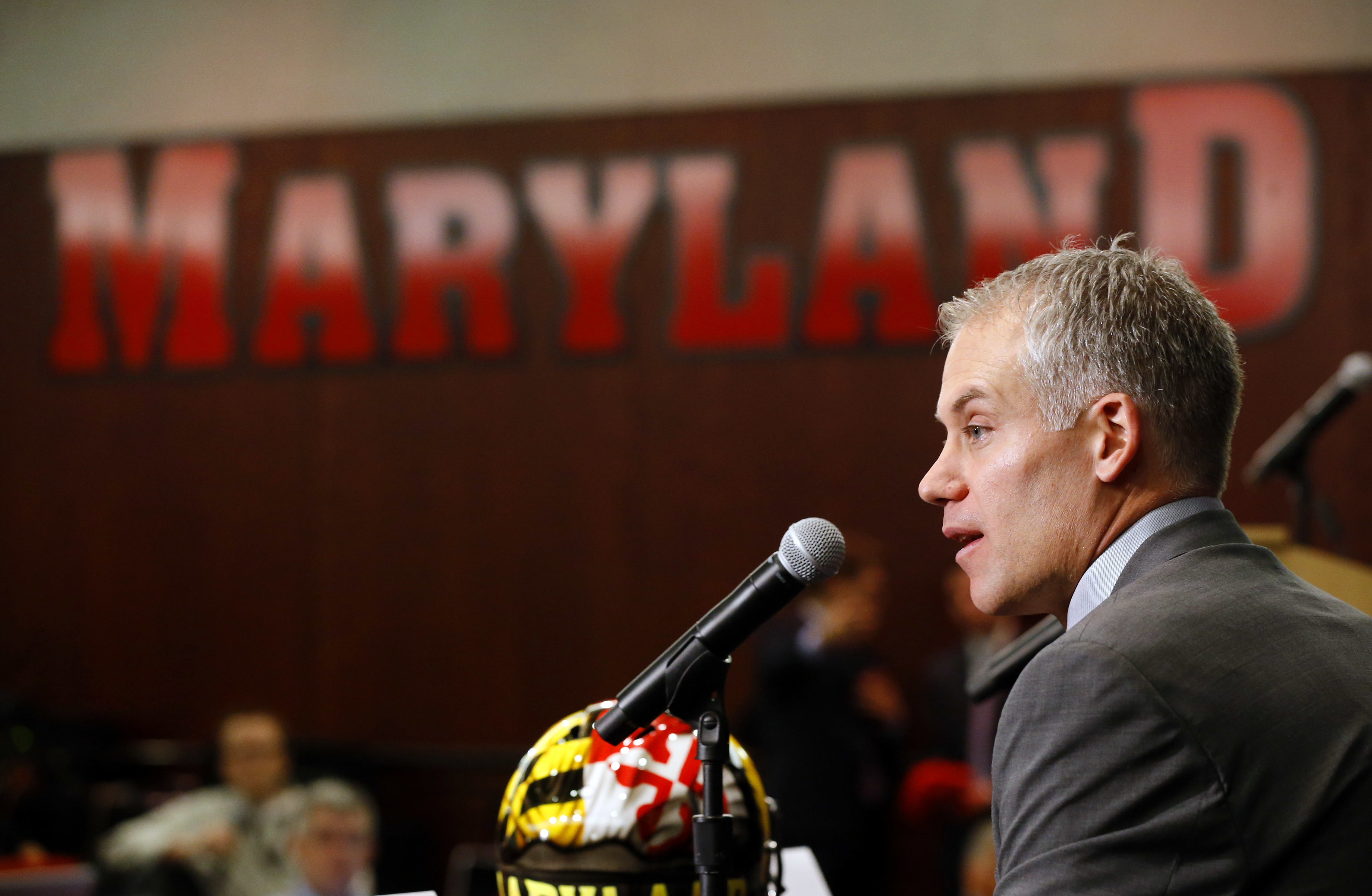 FILE - In this Dec. 3, 2015, file photo, D.J. Durkin speaks at a news conference after being introduced as the new head football coach at the University of Maryland, in College Park, Md. Durkin insists his first game as Maryland's football coach isn't abo