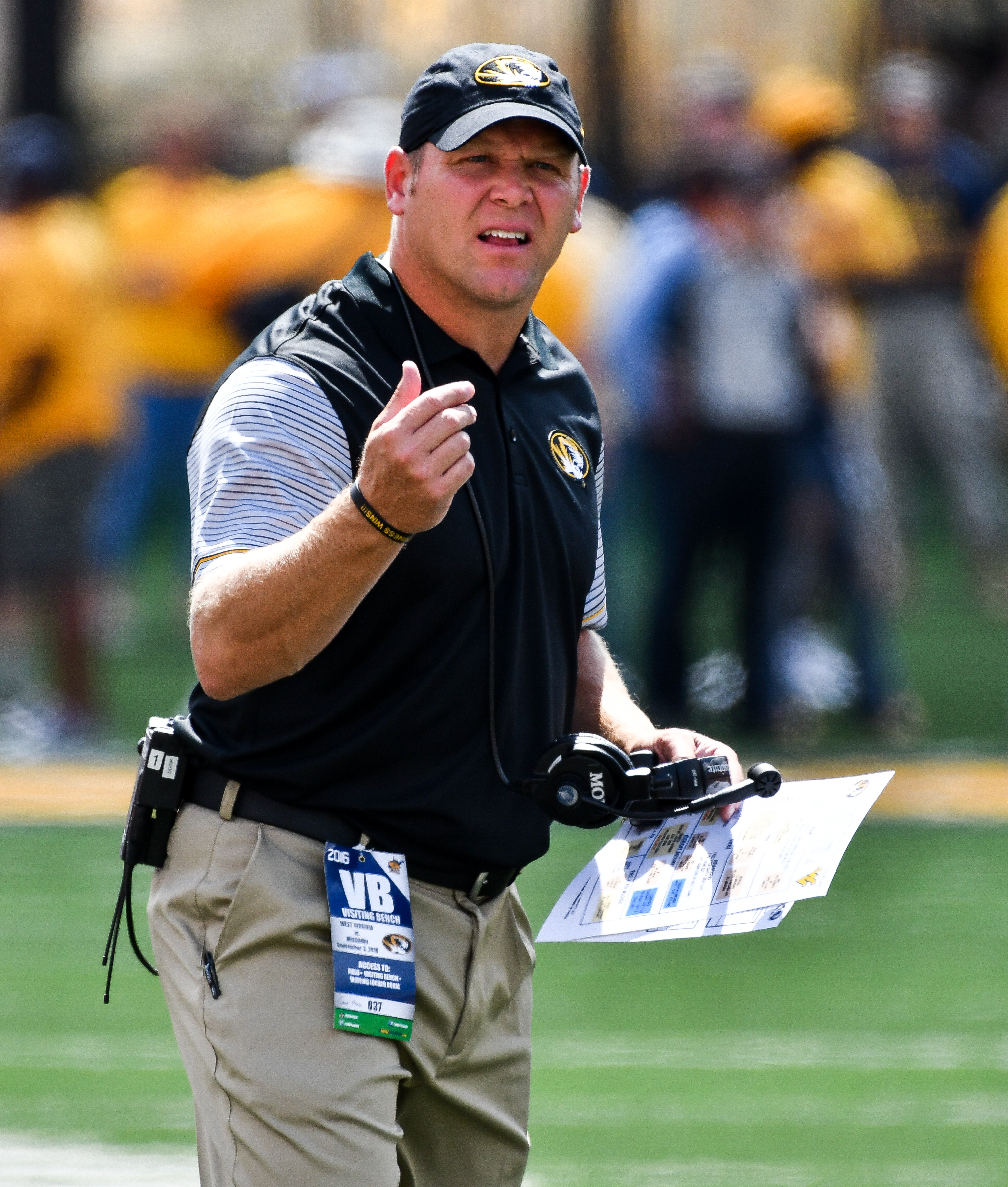 Missouri head coach Barry Odom motions to a referee during the first half of an NCAA college football game against West Virginia in Morgantown, W. Va., Saturday Sept. 3, 2016. (AP Photo/Tyler Evert)