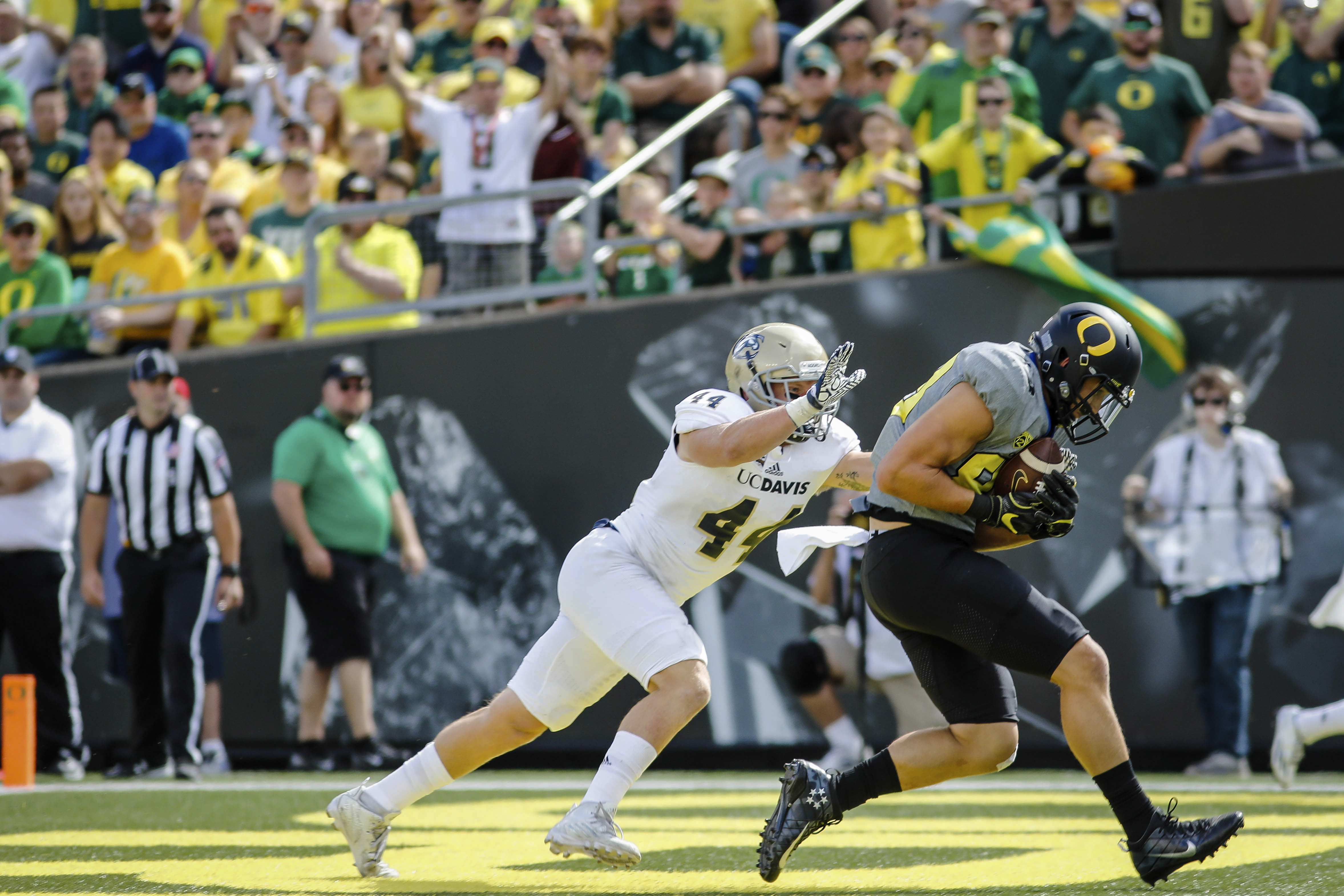 Oregon tight end Johnny Mundt scores a touchdown on a pass reception during the second quarter as UC Davis defensive back Zach Jones (44) follows, during an NCAA college football game in Eugene, Ore., Saturday, Sept. 3, 2016. (AP Photo/Thomas Boyd)