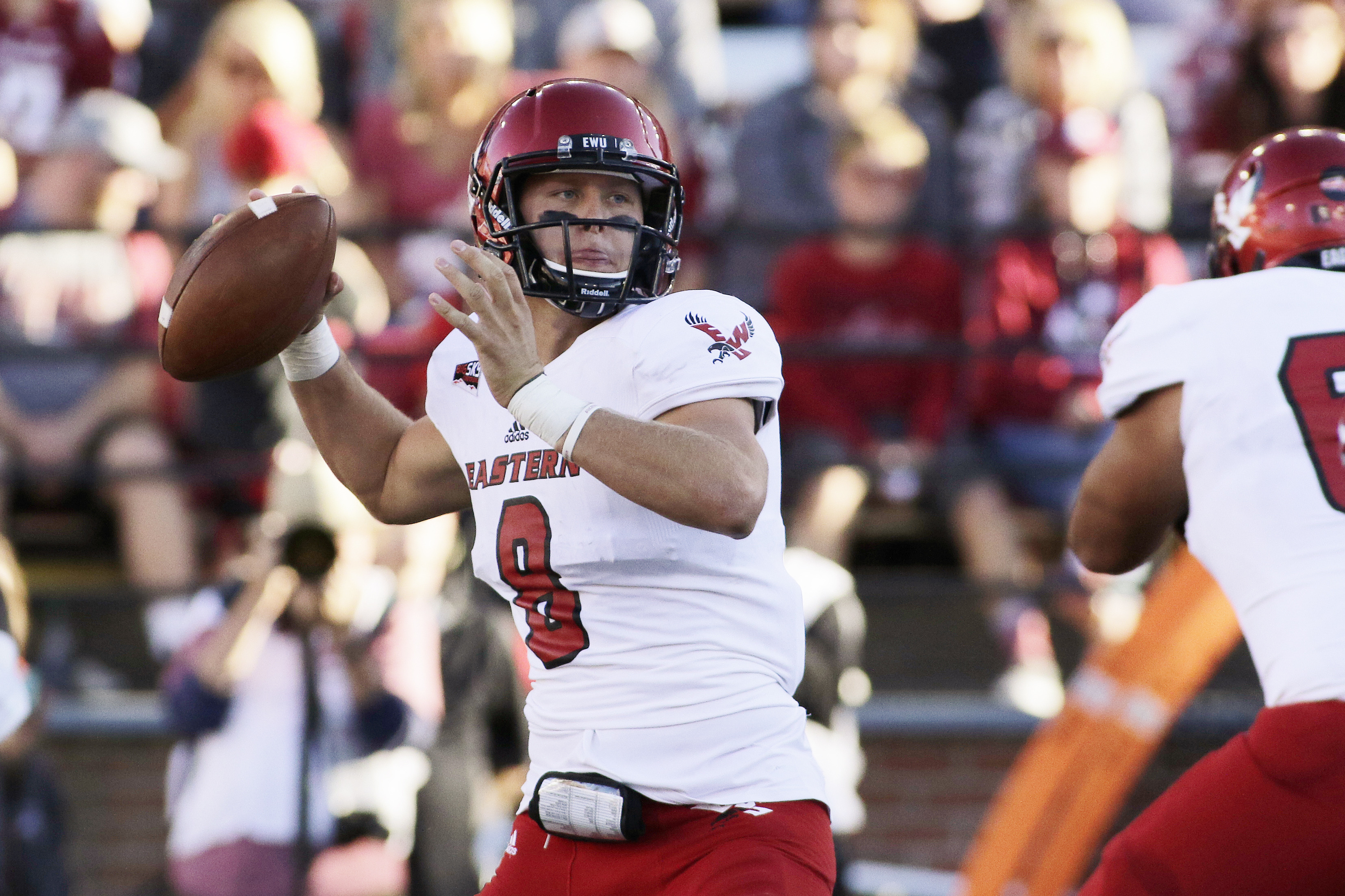 Eastern Washington quarterback Gage Gubrud (8) looks to pass during the first half of an NCAA college football game against the Washington State in Pullman, Wash., Saturday, Sept. 3, 2016. (AP Photo/Young Kwak)