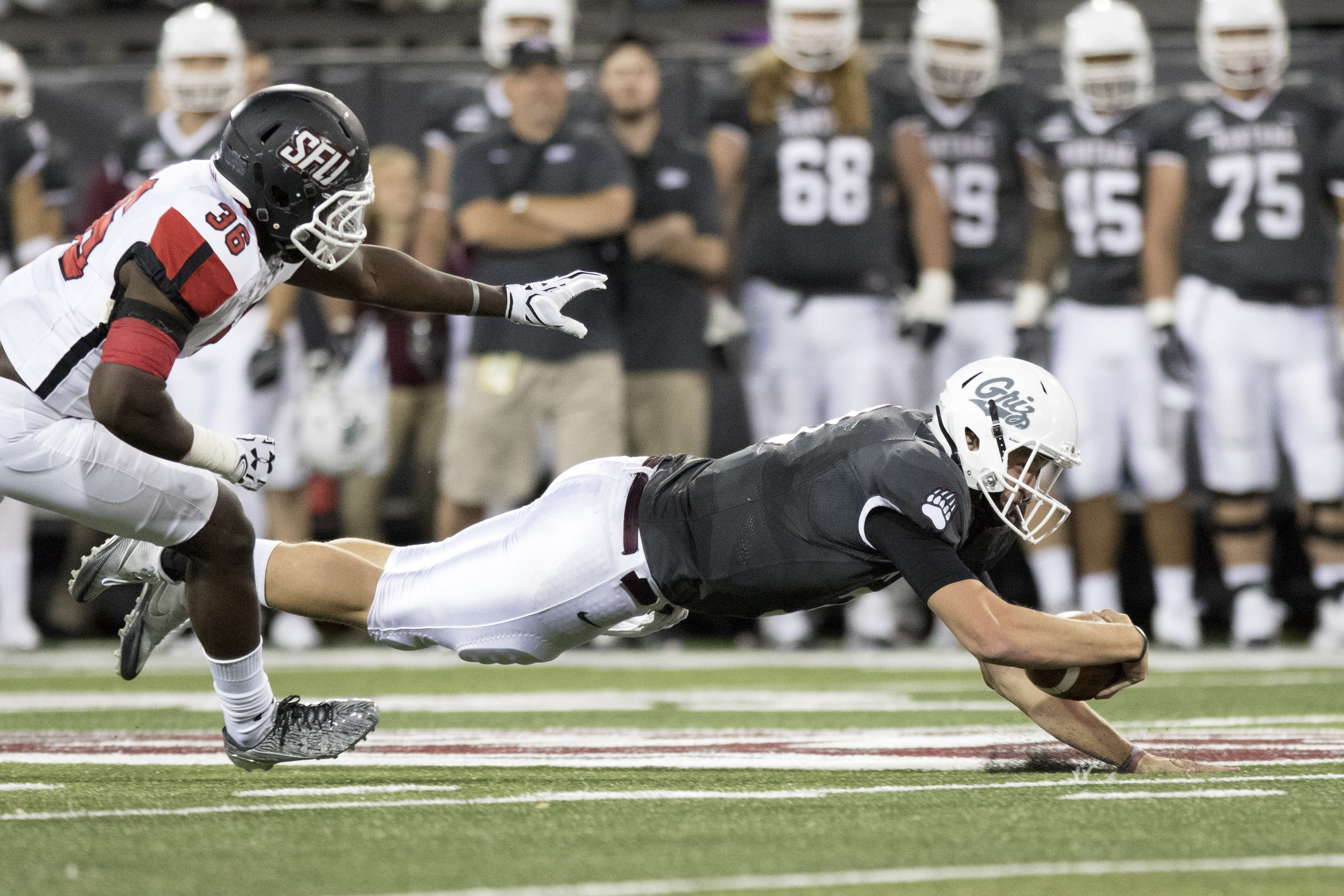 Montana quarterback Brady Gustafson (3) dives for yardage against St. Francis in the first half of an NCAA college football game Saturday, Sept. 3, 2016, in Missoula, Mont. (AP Photo/Patrick Record)