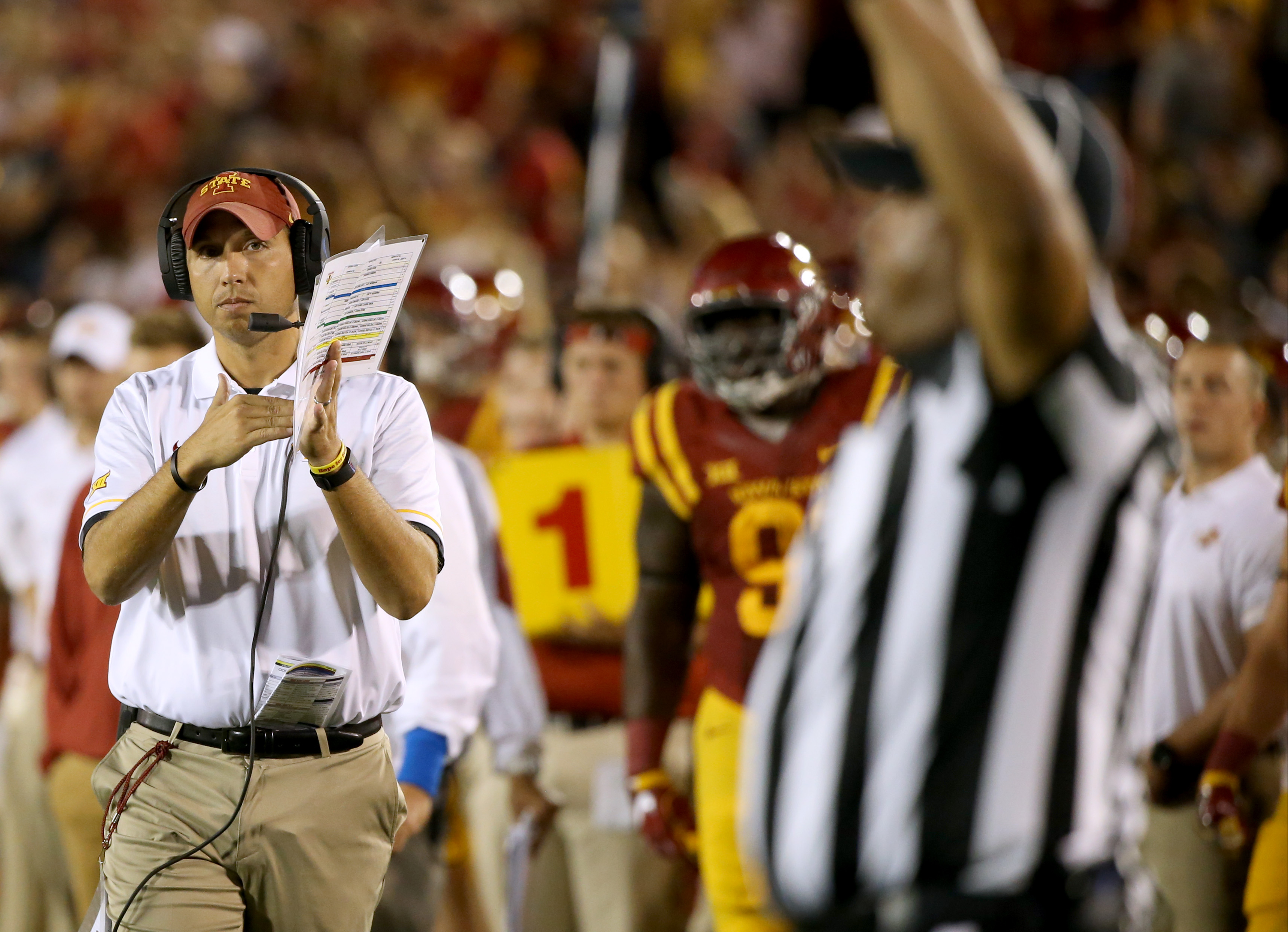Iowa State coach Matt Campbell calls for a timeout during the second half of an NCAA college football game against Northern Iowa, Saturday, Sept. 3, 2016, in Ames, Iowa. Northern Iowa won 25-20. (AP Photo/Justin Hayworth)