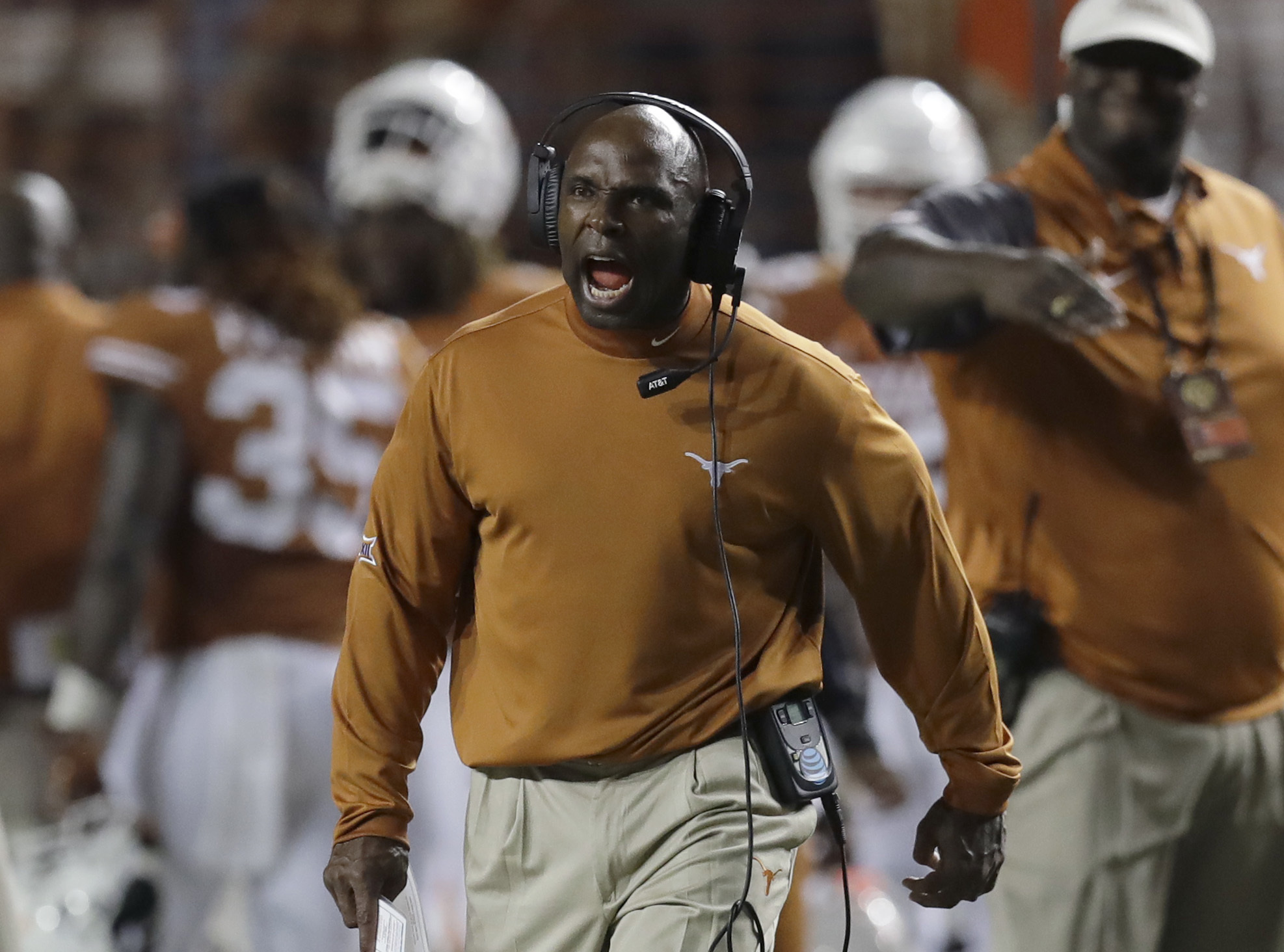 Texas head coach Charlie Strong calls to his players during the second half of an NCAA college football game against Notre Dame, Sunday, Sept. 4, 2016, in Austin, Texas. (AP Photo/Eric Gay)