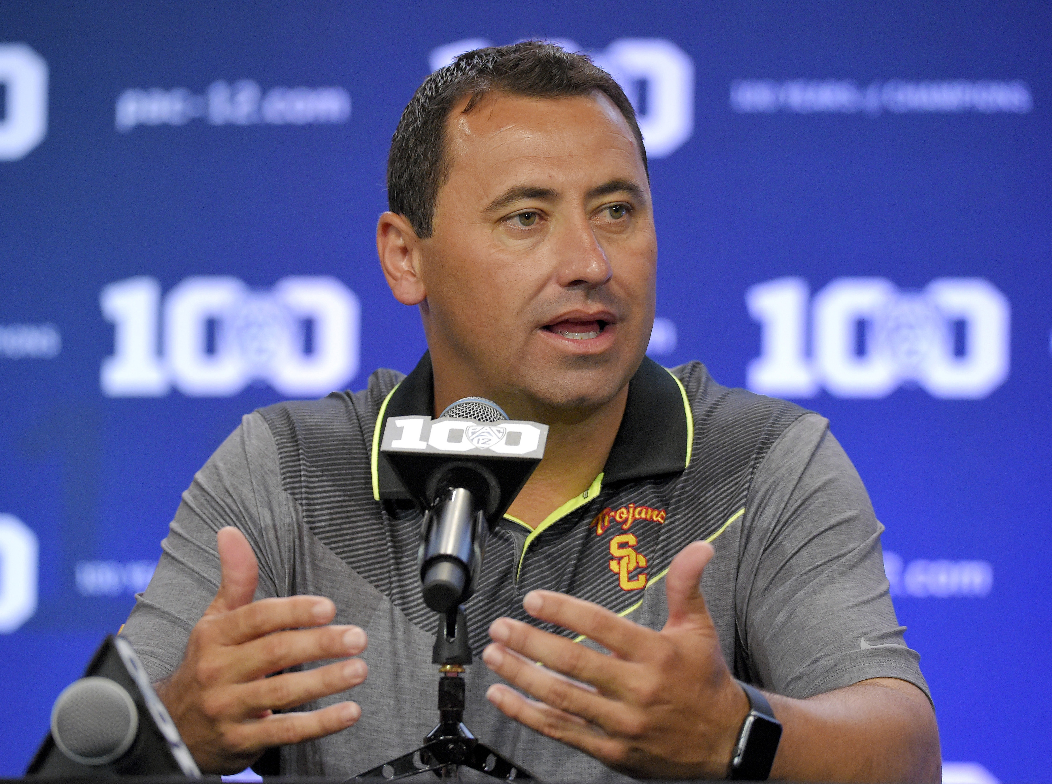 FILE - In this July 31, 2015, file photo, Southern California coach Steve Sarkisian speaks to reporters during NCAA college Pac-12 Football media days in Burbank, Calif. Steve Sarkisian has sued the University of Southern California, alleging the school b
