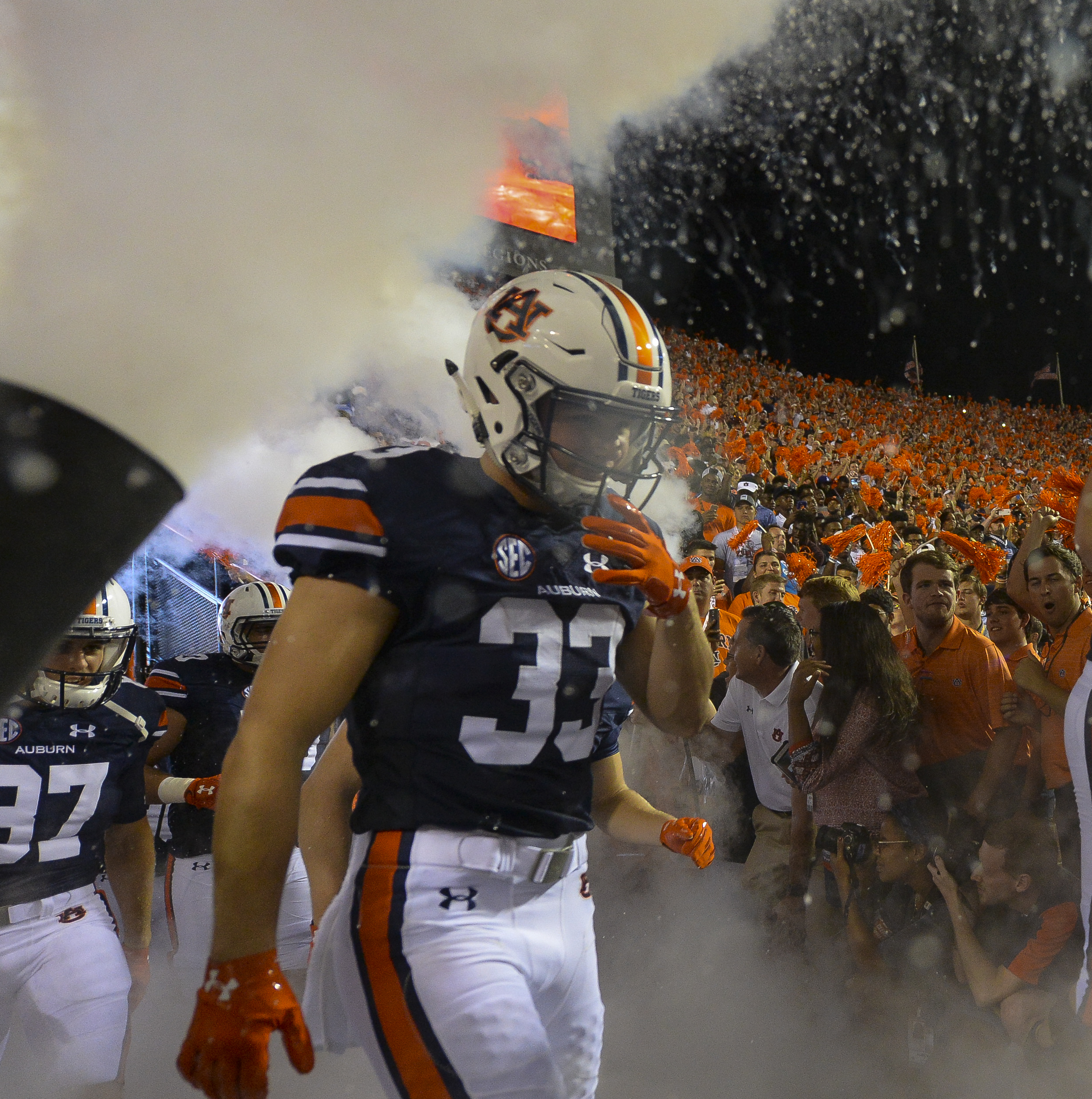 In this Sept. 3, 2016 photo, Auburn's Will Hastings (33) takes the field for an NCAA college football game against Clemson at Jordan-Hare Stadium in Auburn, Ala. Hastings doesn't really look the part of a Southeastern Conference receiver. Auburn's convert