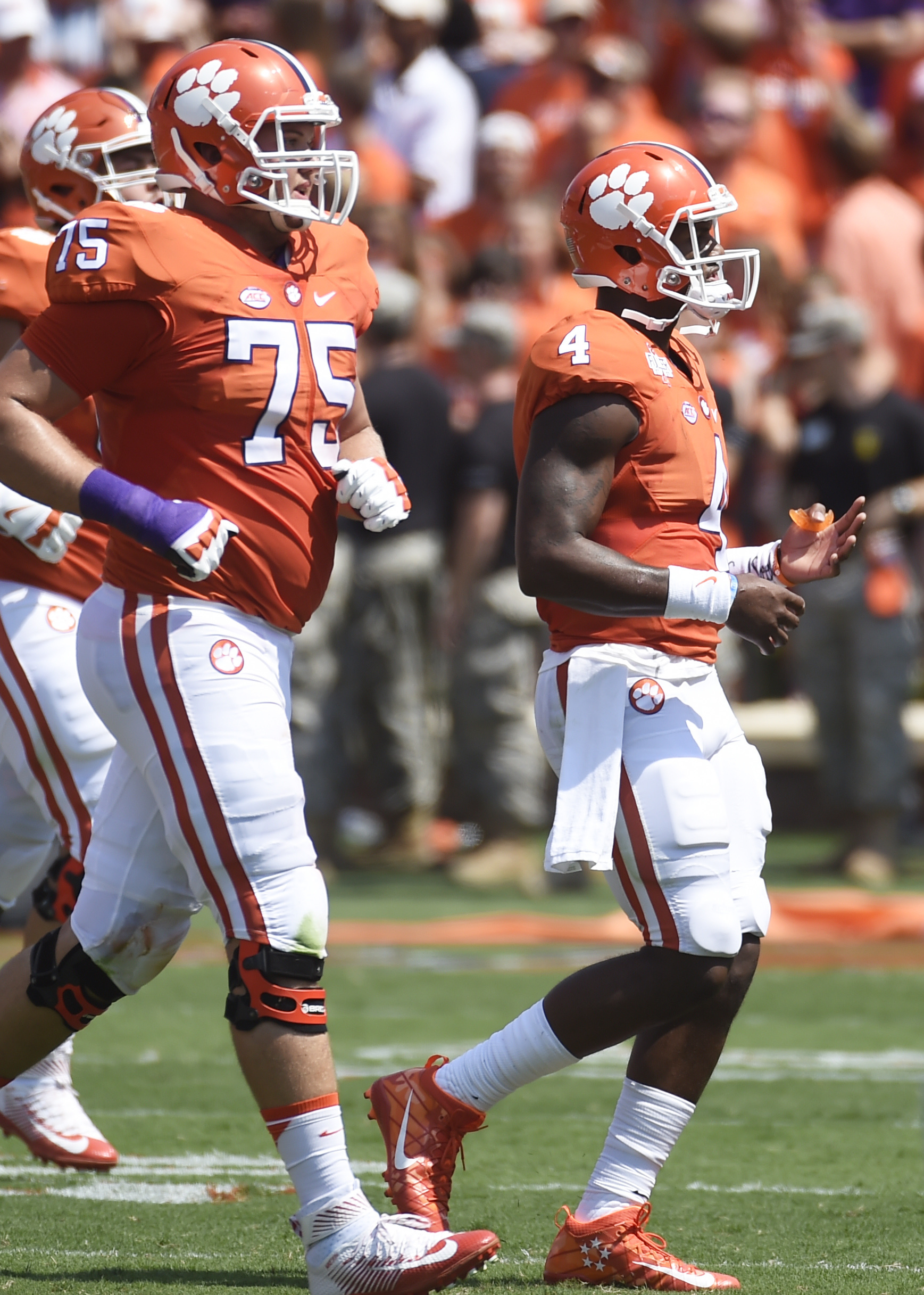Clemson quarterback Deshaun Watson (4) reacts after throwing an interception to Troy during the first half on an NCAA college football game on Saturday, Sept. 10, 2016, in Clemson, S.C. (AP Photo/Rainier Ehrhardt)