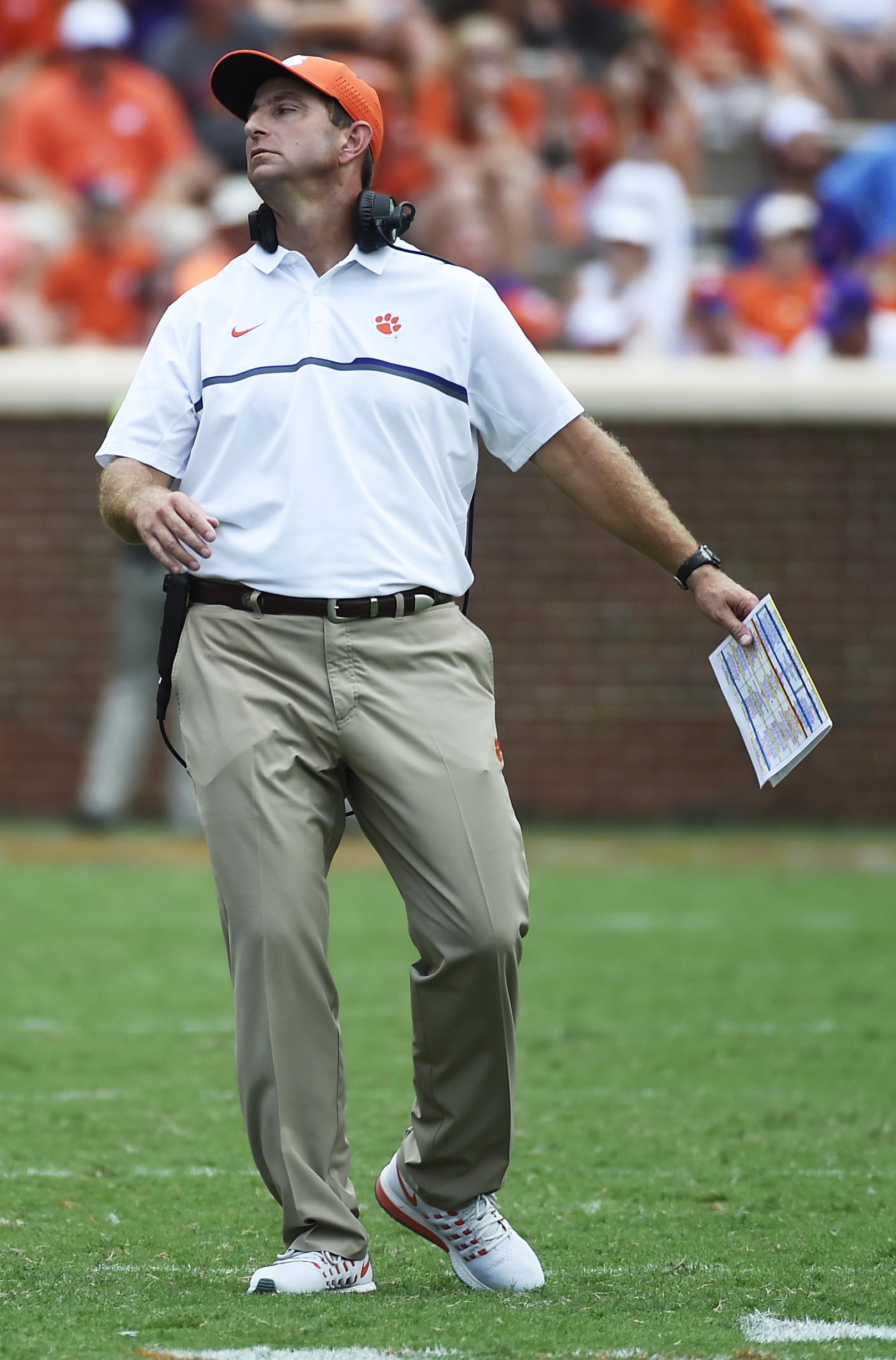 Clemson head coach Dabo Swinney reacts to a call during the second half an NCAA college football game against Troy on Saturday, Sept. 10, 2016, in Clemson, S.C. Clemson won 30-24. (AP Photo/Rainier Ehrhardt)