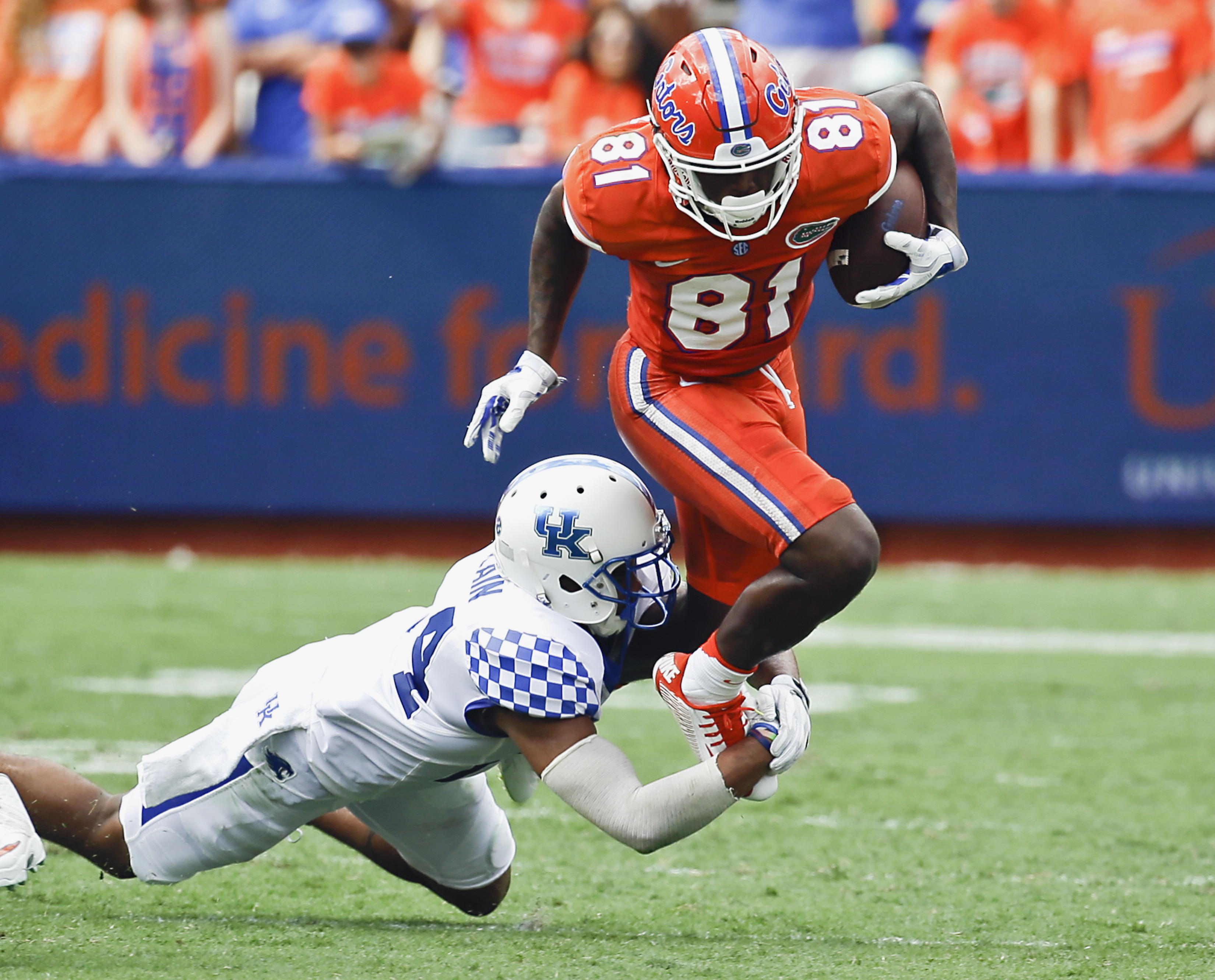 Florida wide receiver Antonio Callaway (81) is tackled by Kentucky defensive back Blake McClain after a reception in the first half of an NCAA college football game, Saturday, Sept. 10, 2016, in Gainesville, Fla. (AP Photo/John Raoux)