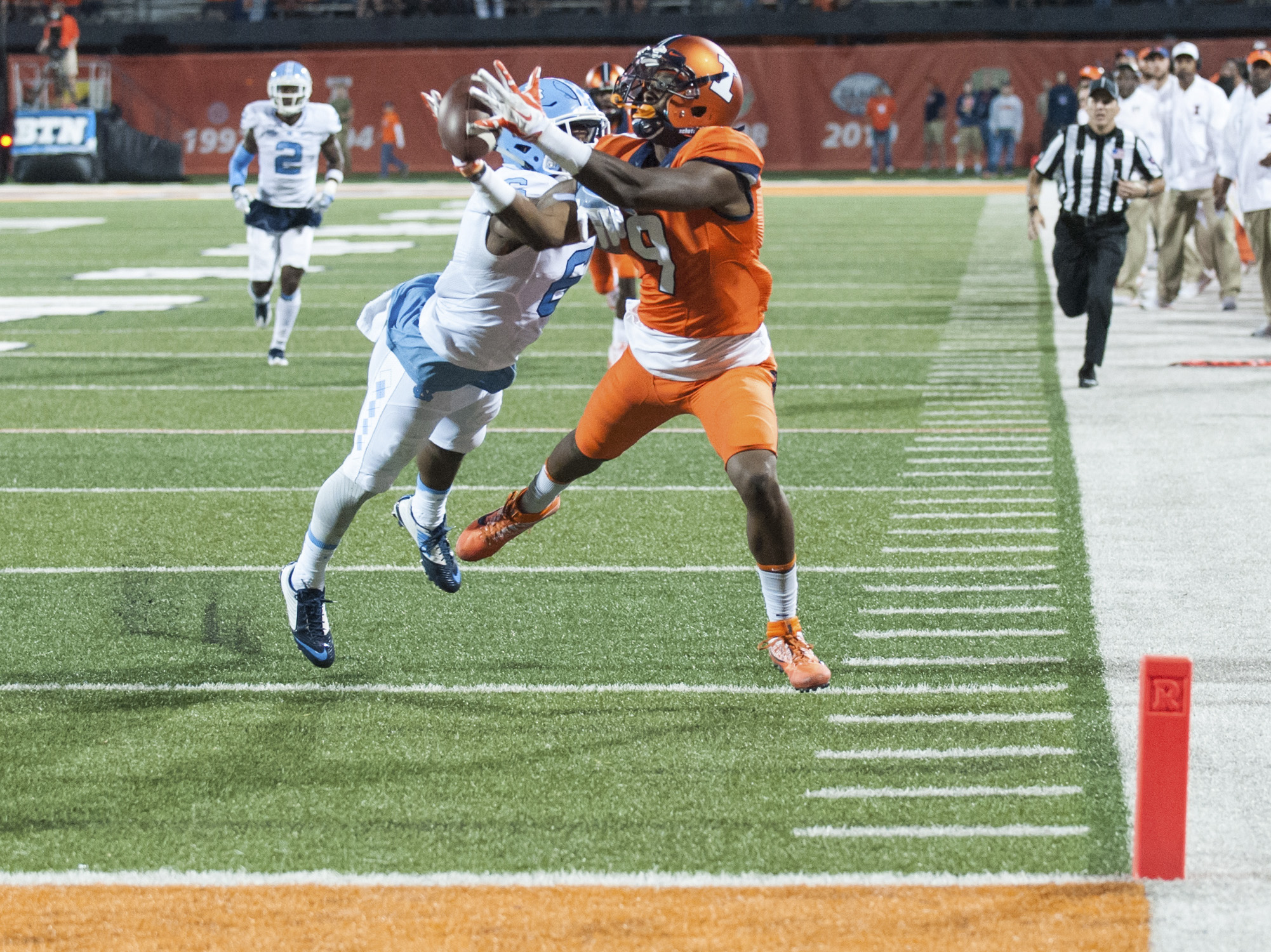 Illinois wide receiver Sam Mays (9) has a pass broken up by North Carolina cornerback M.J. Stewart (6) during the second half of an NCAA college football game Saturday, Sept. 10, 2016 at Memorial Stadium in Champaign, Ill.  (AP Photo/Bradley Leeb)