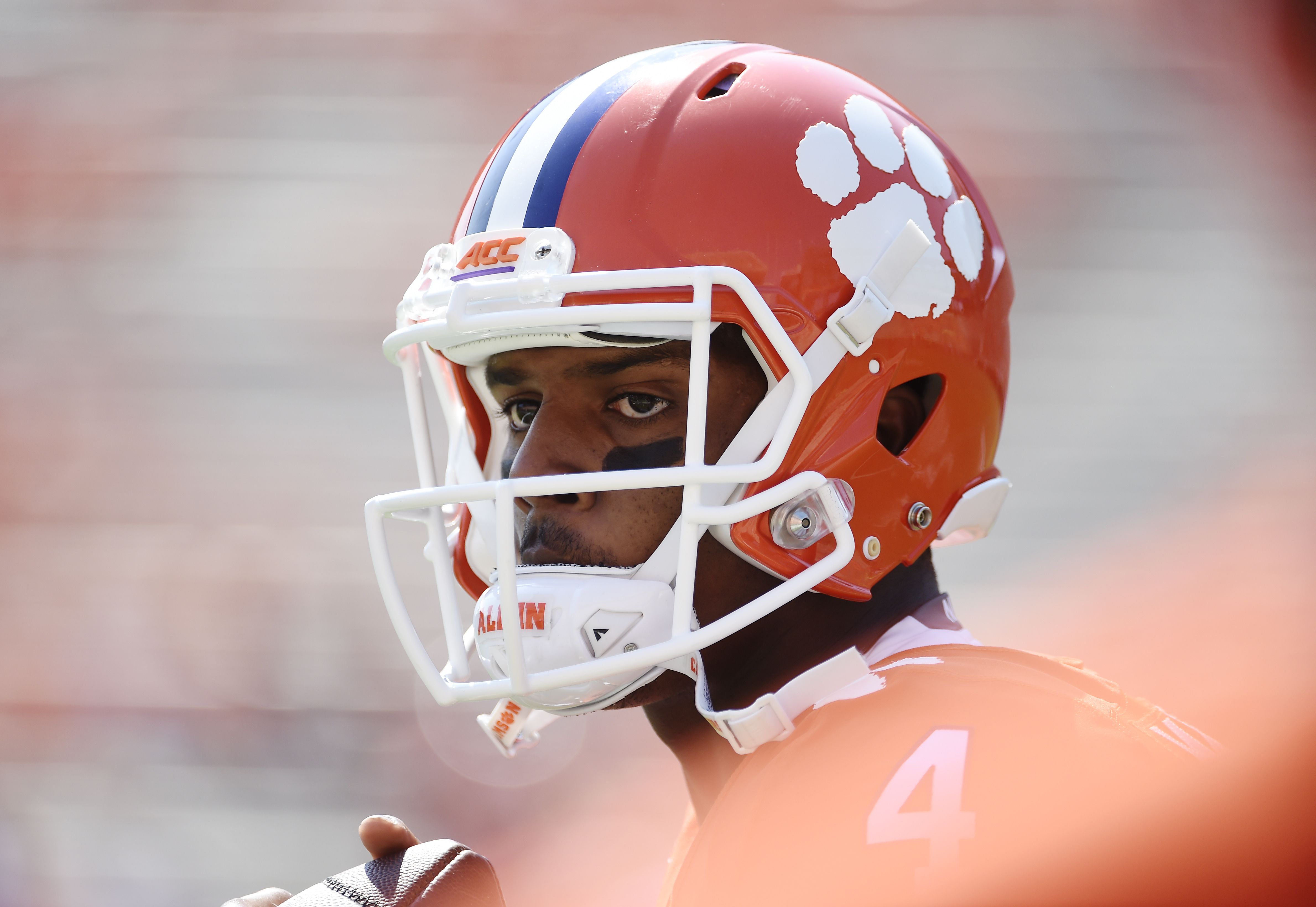 """Clemson quarterback Deshaun Watson (4) warms up before an NCAA college football game against Troy on Saturday, Sept. 10, 2016, in Clemson, S.C. Clemson quarterback Deshaun Watson has apologized to Tigers' fans for his """"negative energy"""" that he believes ha"""