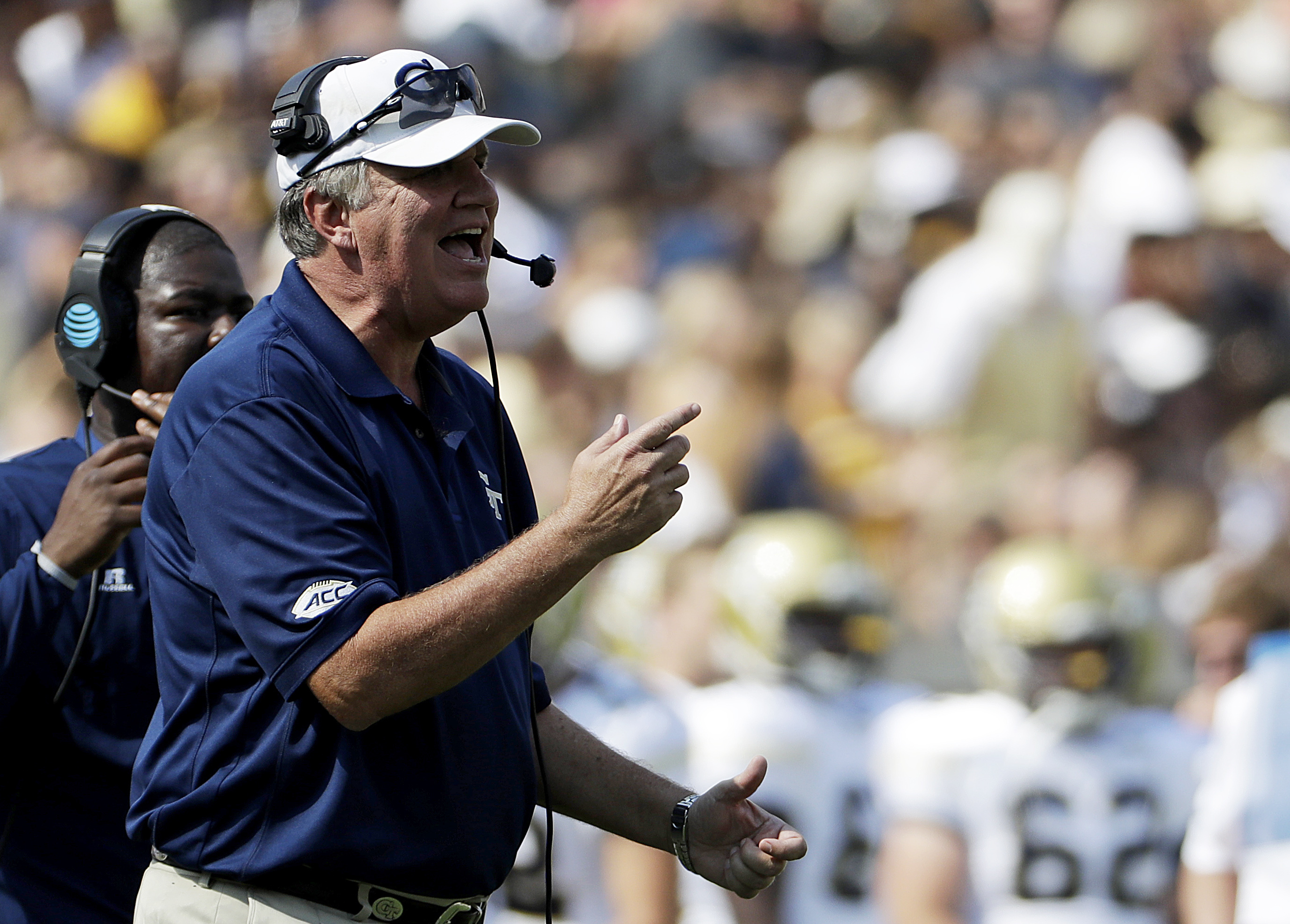 FILE - In this Sept. 10, 2016, file photo, Georgia Tech head coach Paul Johnson stands on the sideline in the first half of an NCAA college football game against Mercer in Atlanta. Georgia Tech coach Paul Johnson is still trying to find a good read on his