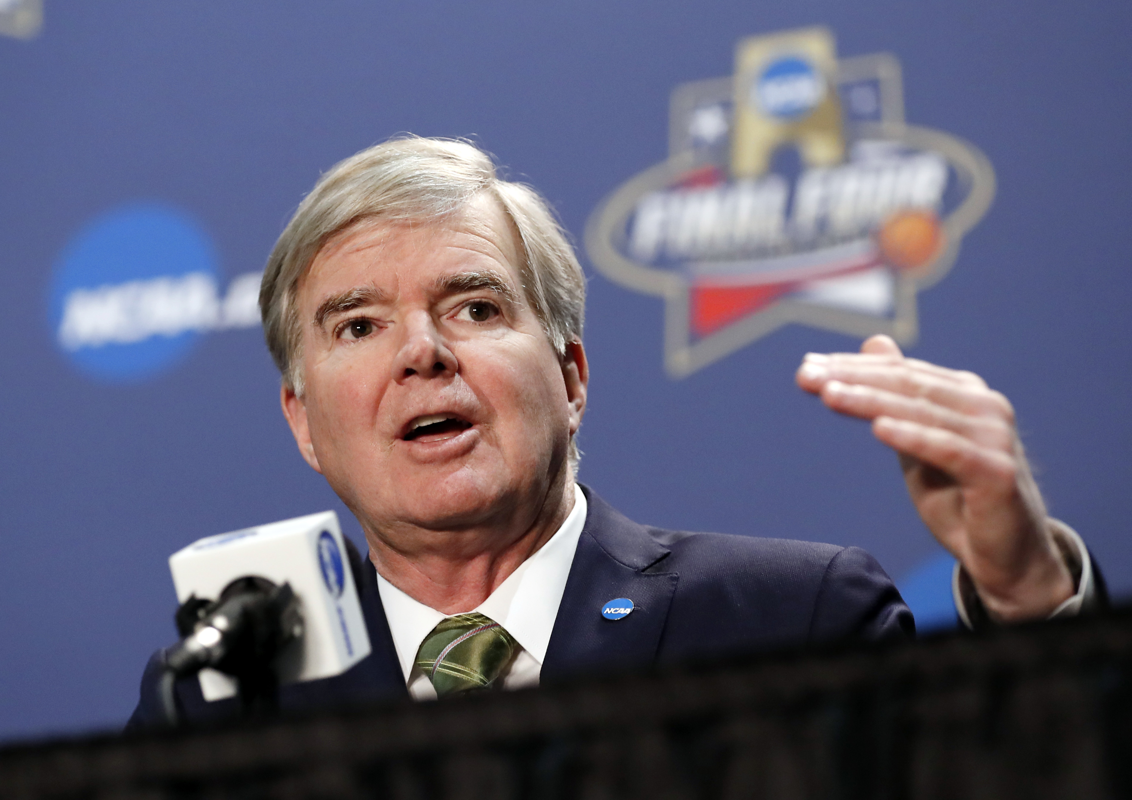 FILE - In this March 31, 2016, file photo, NCAA President Mark Emmert answers questions during a news conference at the men's NCAA Final Four of the NCAA college basketball tournament in Houston. Basketball-crazed North Carolina has lost its next chance t