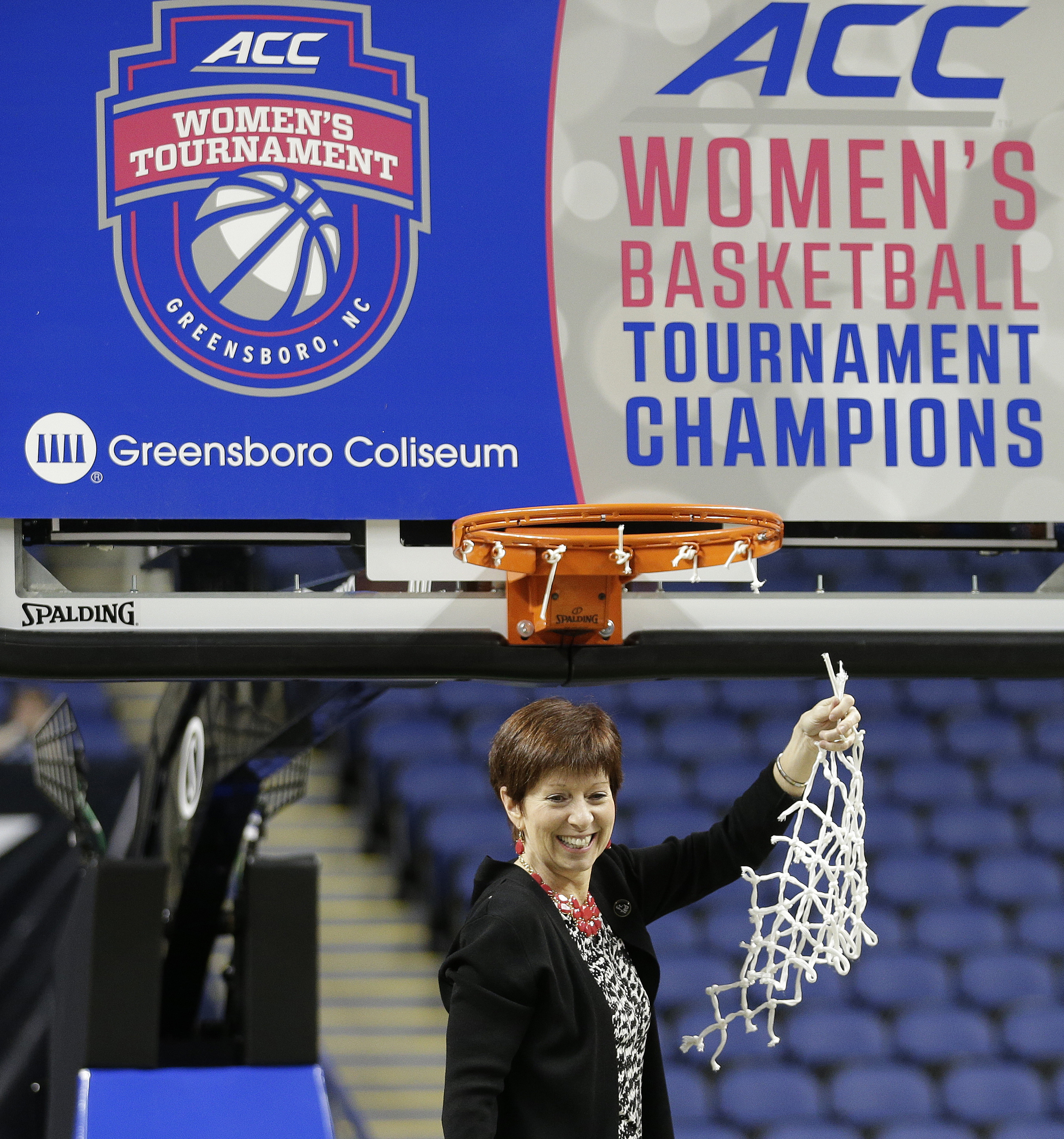 FILE - In this March 8, 2015, file photo, Notre Dame head coach Muffet McGraw celebrates after an NCAA college basketball game against Florida State in the championship of the Atlantic Coast Conference tournament in Greensboro, N.C. NCAA President Mark Em