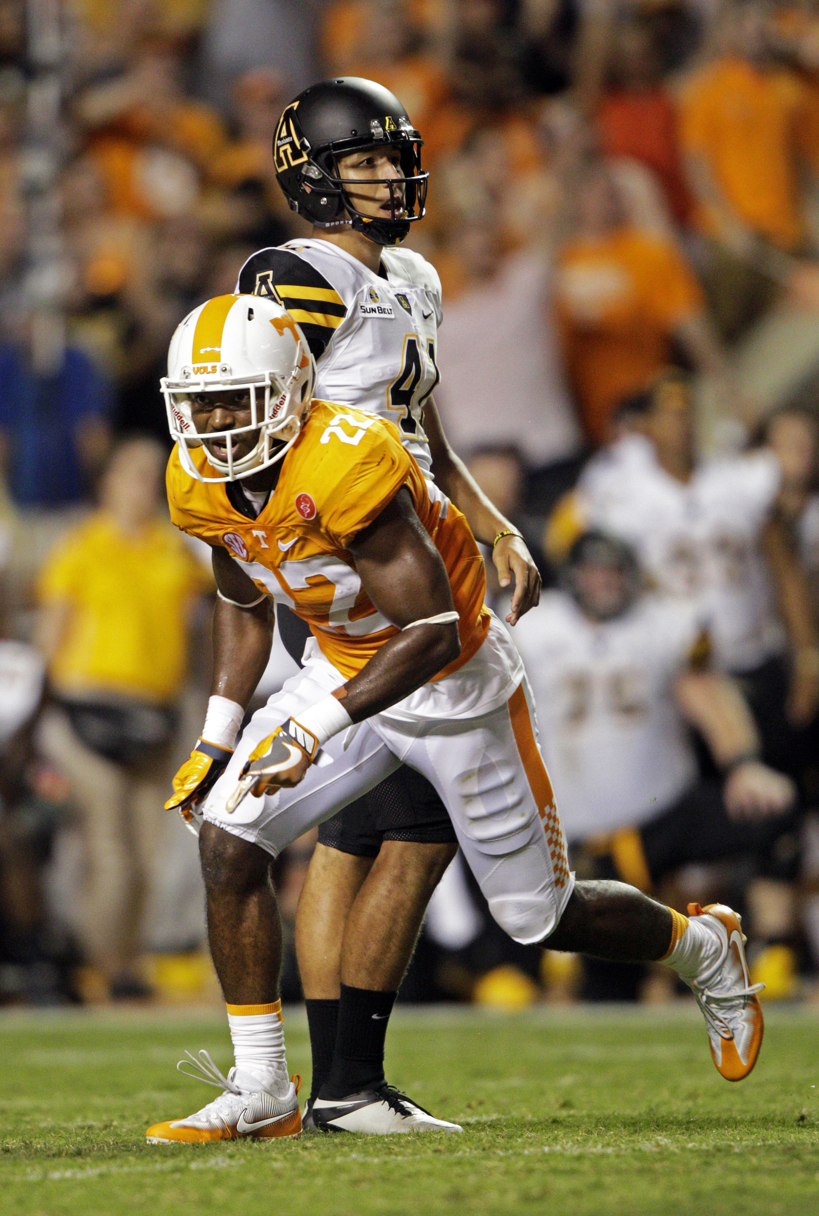 FILE -- In this Sept. 1, 2016 file photo, Tennessee defensive back Micah Abernathy (22) celebrates after Appalachian State place kicker Michael Rubino (41) missed a field goal in an NCAA college football game in Knoxville, Tenn. Abernathy left offense beh
