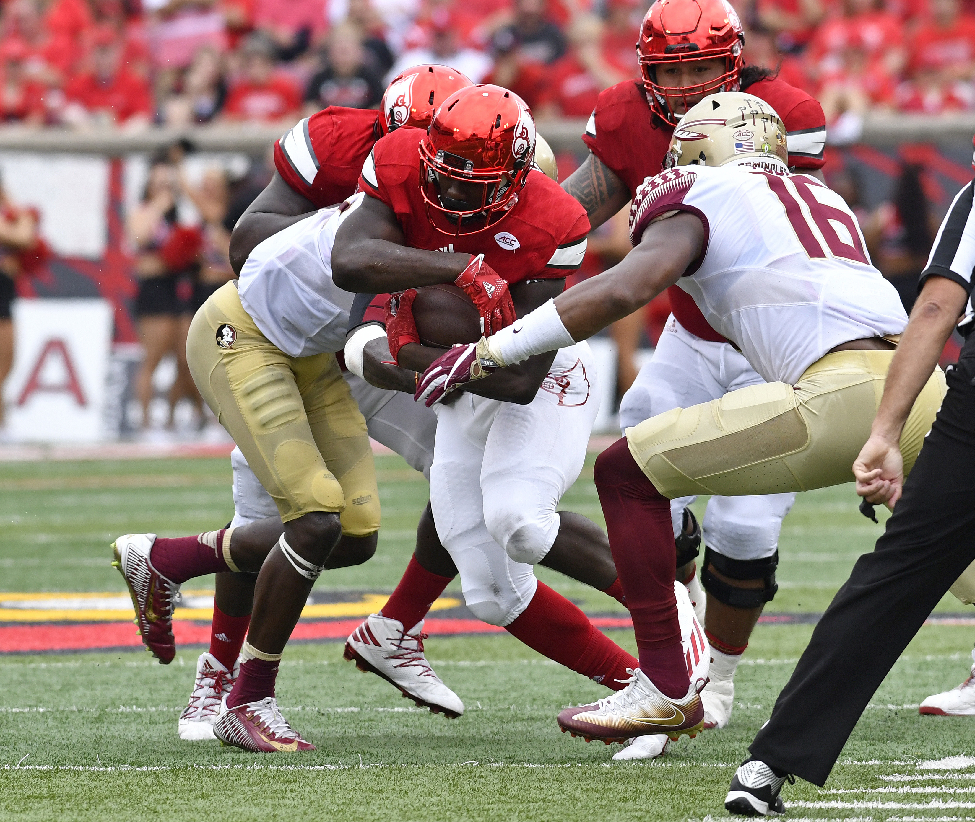 Louisville running back Brandon Radcliff (23) is hit by Florida State linebacker Jacob Pugh (16) and Matthew Thomas (6) during the first quarter of an NCAA college football game, Saturday, Sep. 17, 2016 in Louisville Ky. (AP Photo/Timothy D. Easley)