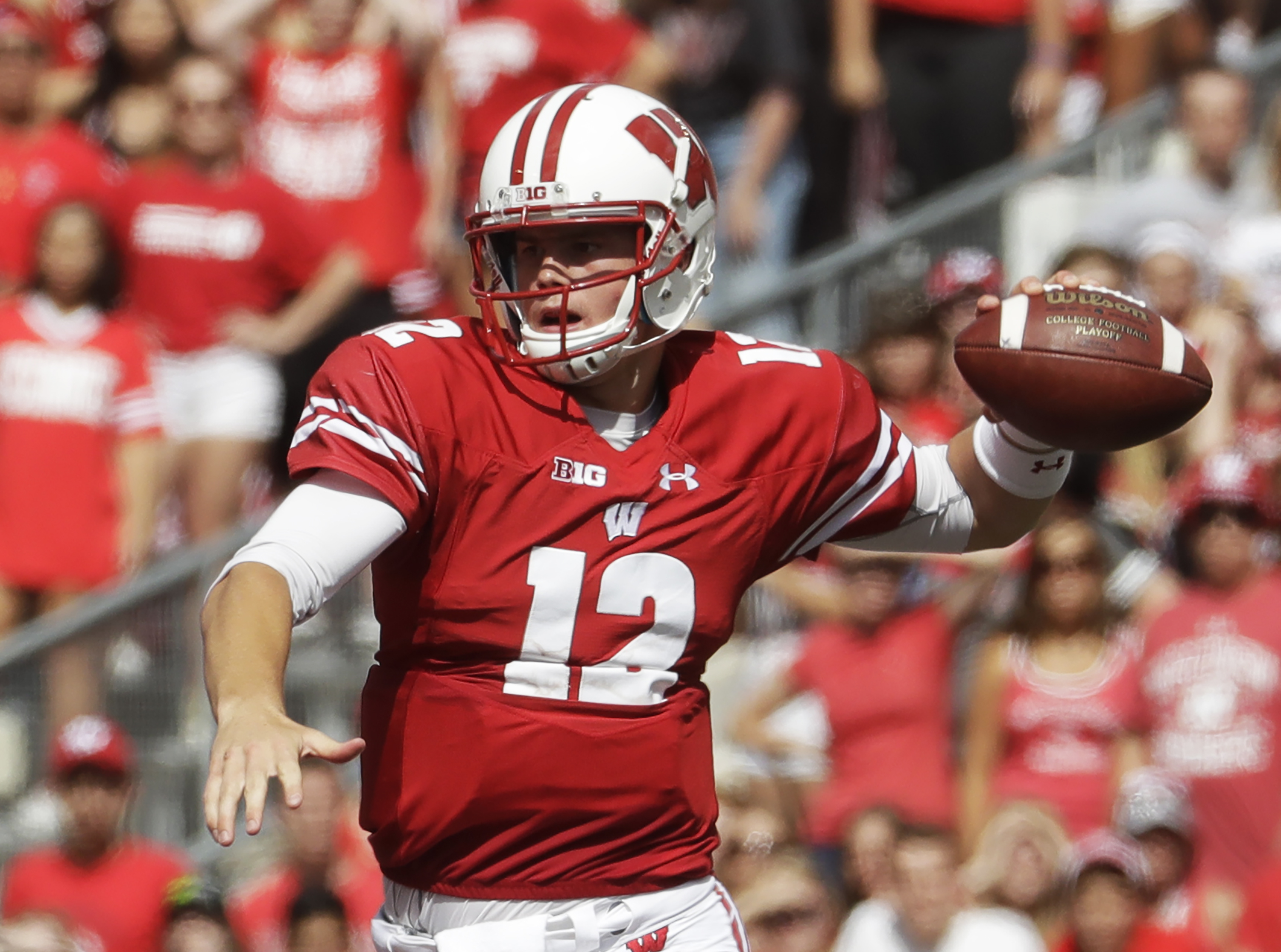 Wisconsin quarterback Alex Hornibrook throws during the second half of an NCAA college football game against Georgia State Saturday, Sept. 17, 2016, in Madison, Wis. Wisconsin won 23-17. (AP Photo/Morry Gash)