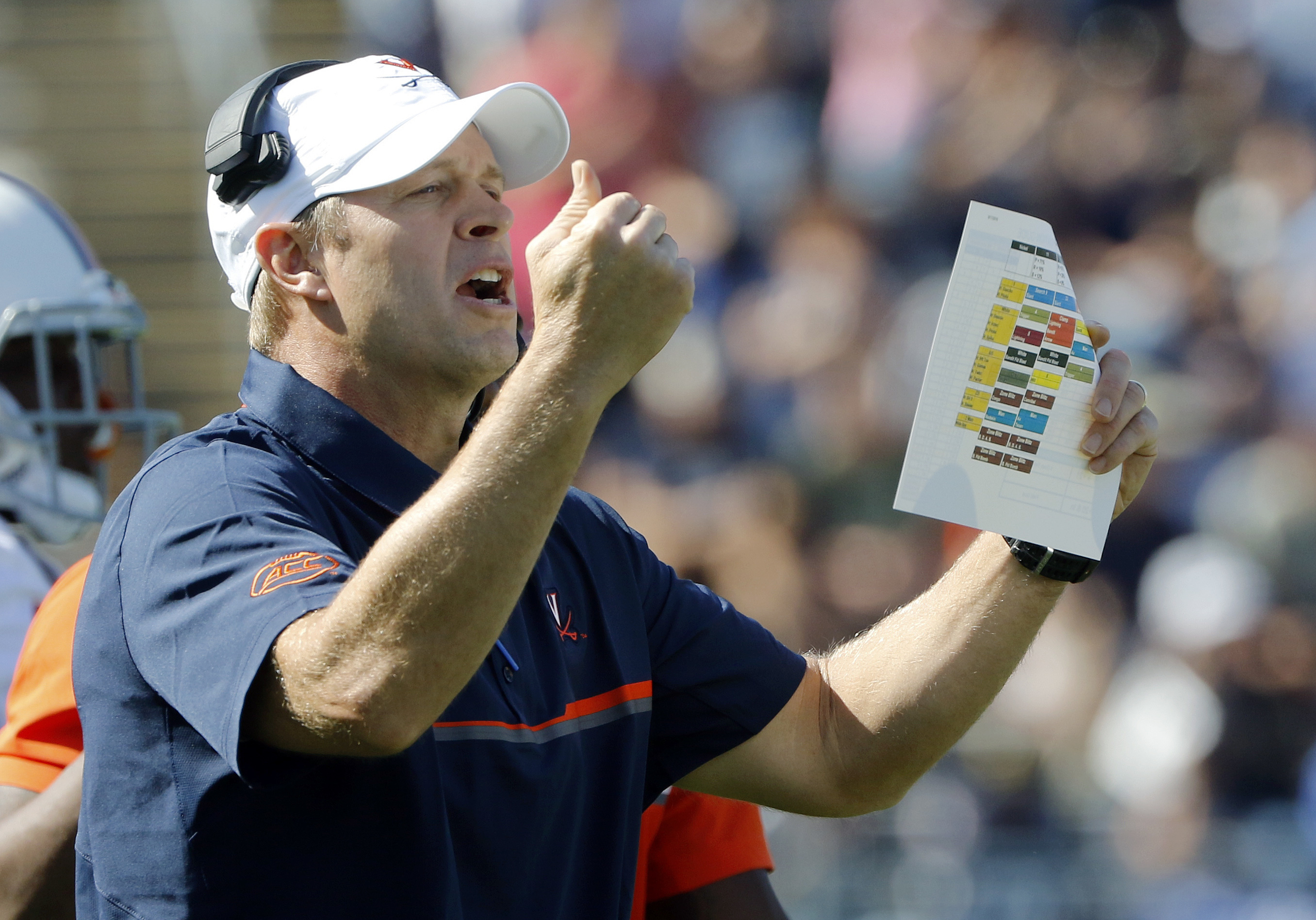Virginia head coach Bronco Mendenhall instructs from the sideline in the first half of an NCAA college football game against Connecticut Saturday, Sept. 17, 2016, in East Hartford, Conn. (AP Photo/Bill Sikes)
