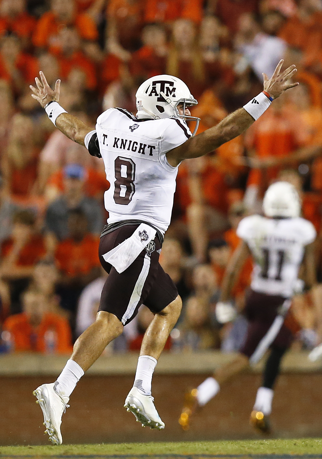 Texas A&M quarterback Trevor Knight runs across the field in celebration after running back Trayveon Williams scored a touchdown in the second half during an NCAA college football game against Auburn, Saturday, Sept. 17, 2016, in Auburn, Ala. (AP Photo/Br