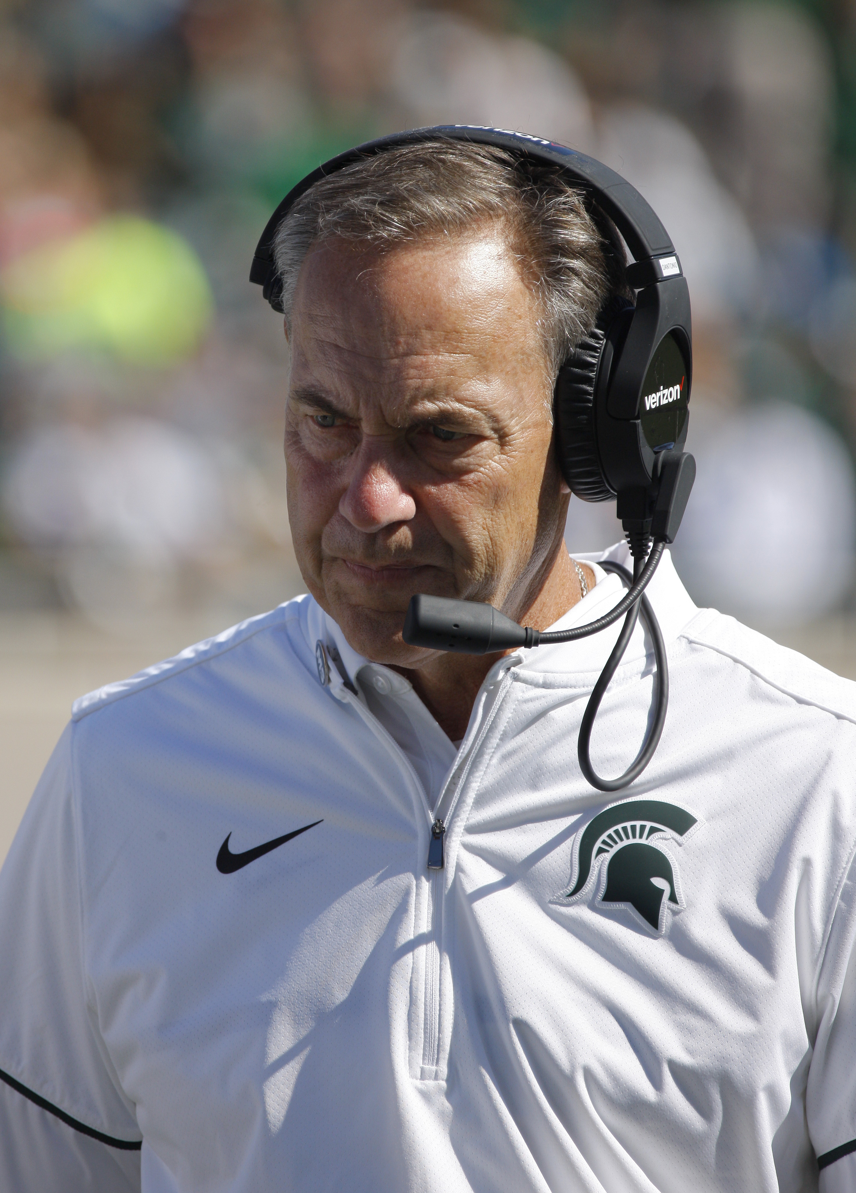 Michigan State coach Mark Dantonio walks the sideline during the fourth quarter of an NCAA college football game against Wisconsin, Saturday, Sept. 24, 2016, in East Lansing, Mich. Wisconsin won 30-6. (AP Photo/Al Goldis)