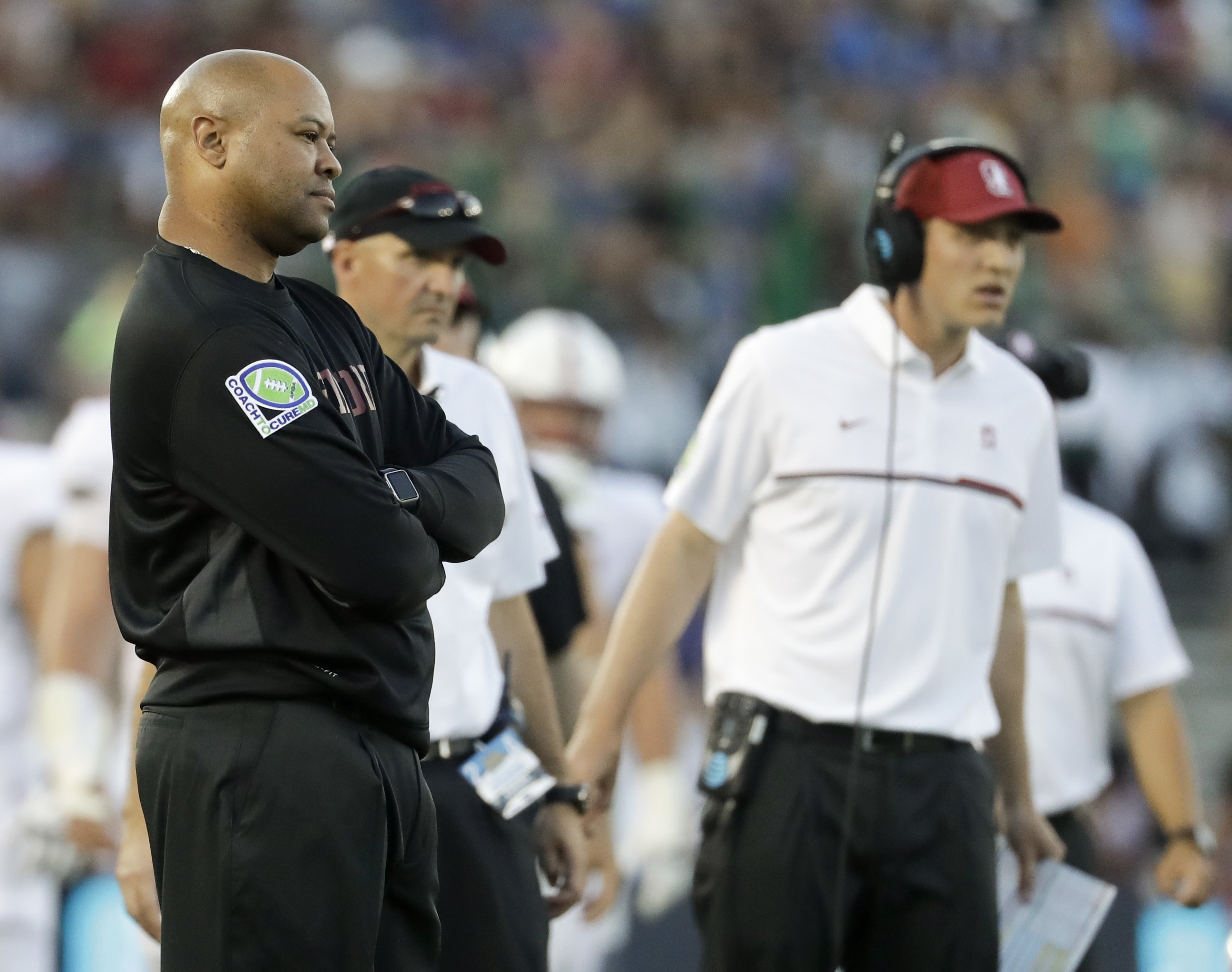 Stanford head coach David Shaw watches during the first half of an NCAA college football game against UCLA in Pasadena, Calif., Saturday, Sept. 24, 2016. (AP Photo/Chris Carlson)