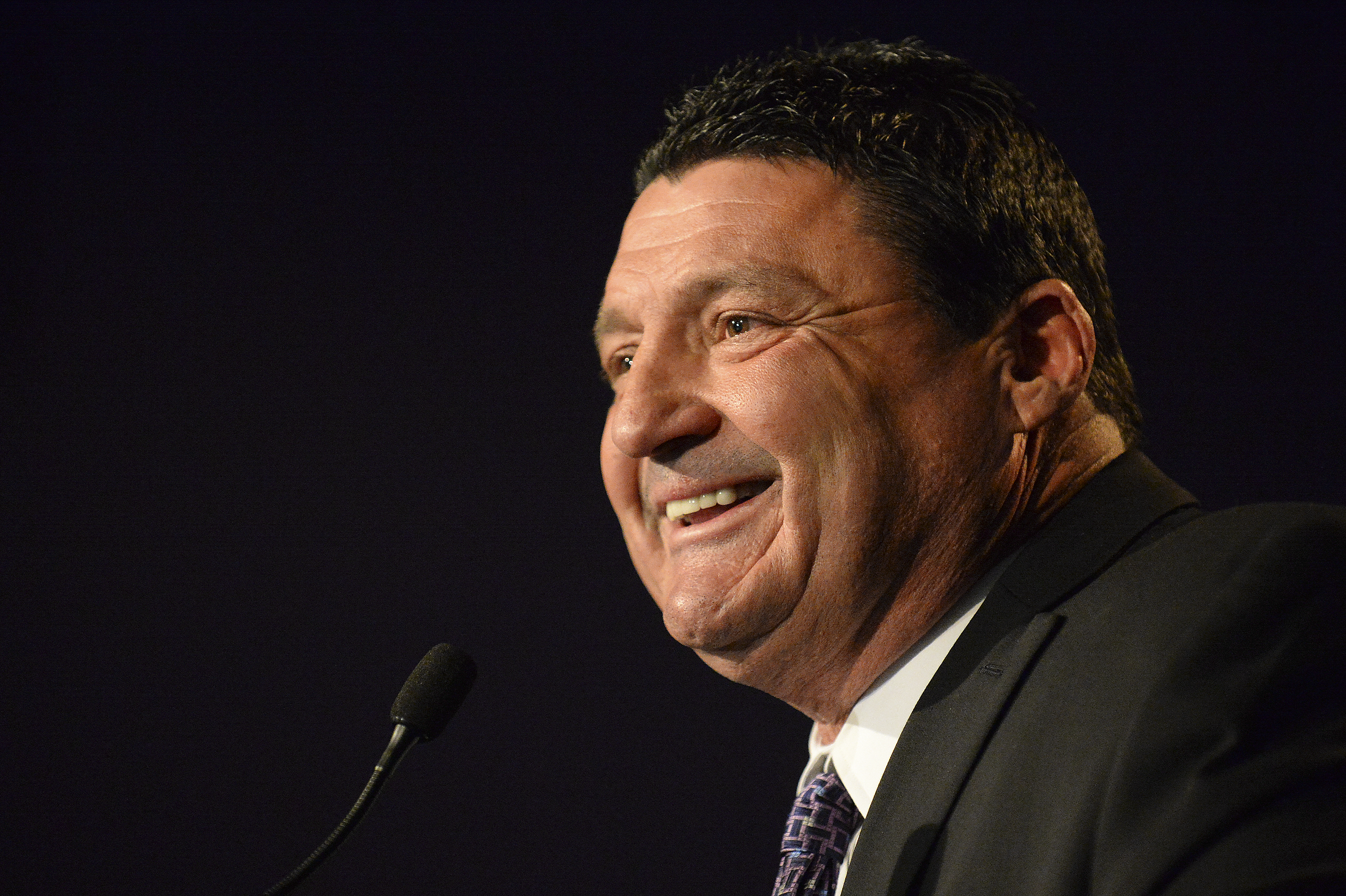 FILE - In this Jan. 14, 2015, file photo, LSU defensive line coach Ed Orgeron speaks during a news conference in Baton Rouge, La. Orgeron says that as a Louisiana native, it is a dream to have the opportunity to be LSUs head coach. He was formally introdu