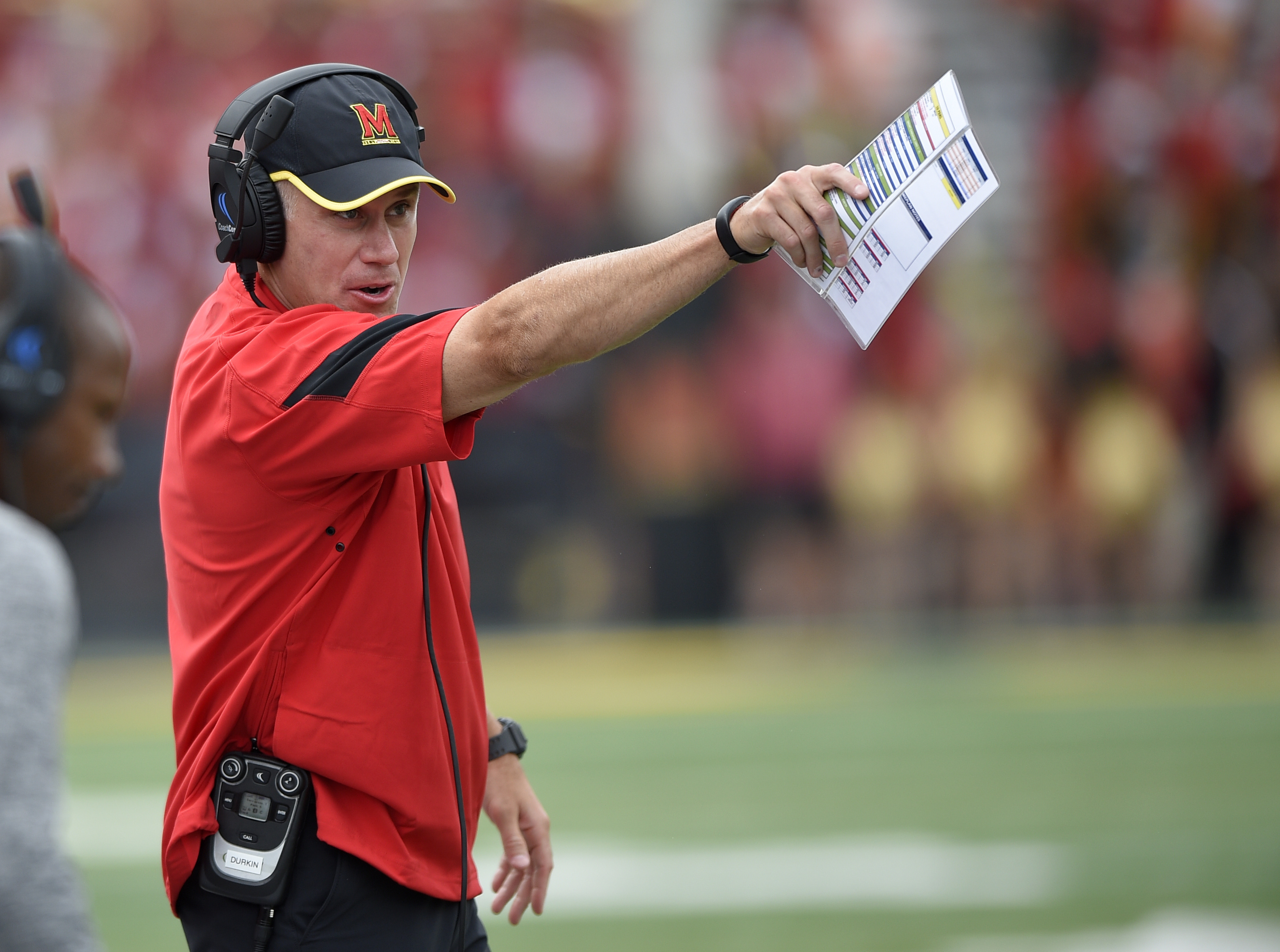 FILE - In this Sept. 3, 2016, file photo, Maryland head coach DJ Durkin gestures during the second half of an NCAA football game against Howard in College Park, Md. Though first-year coach DJ Durkin is known for his defensive prowess, Maryland is unbeaten
