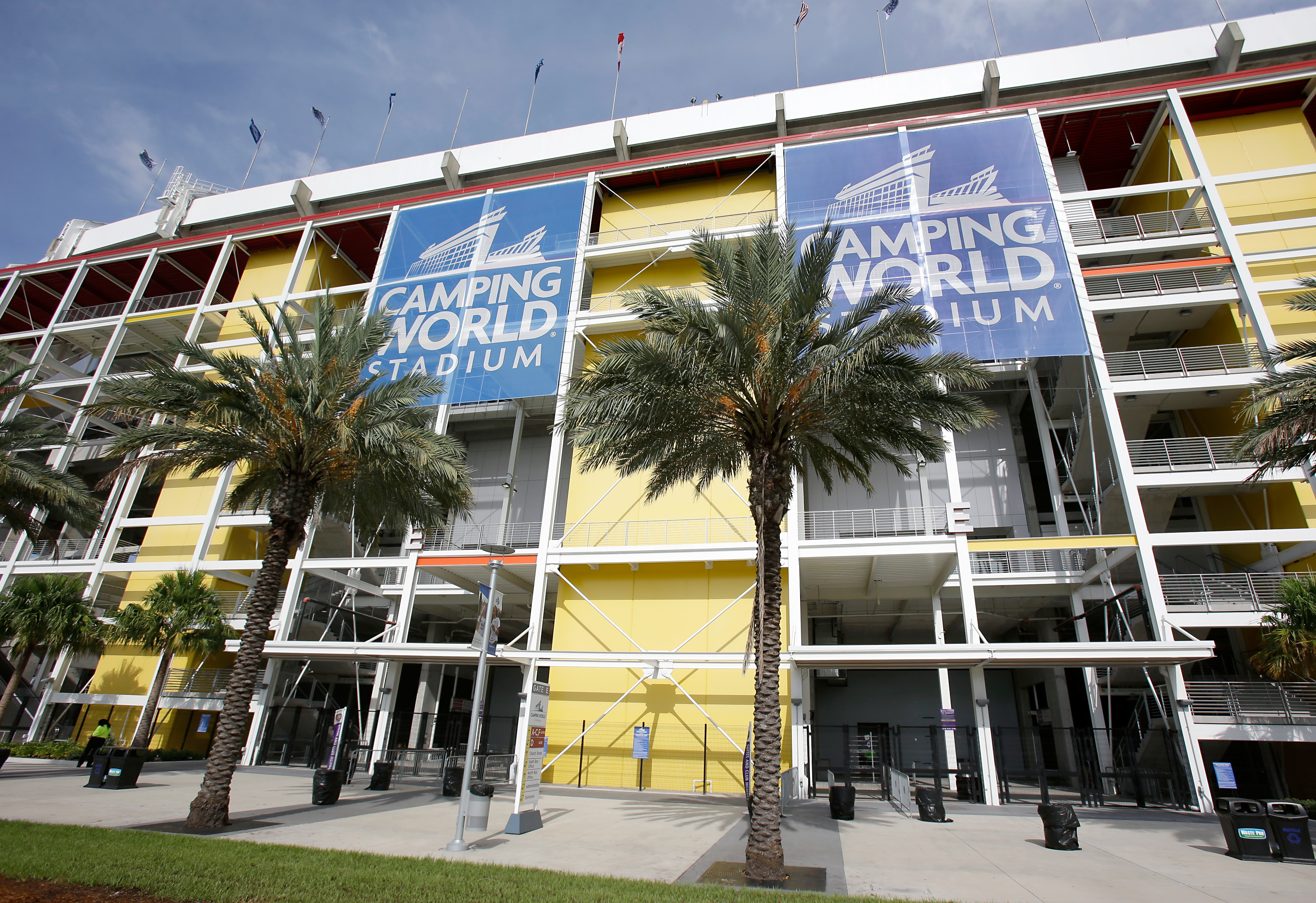 This Wednesday, Aug. 24, 2016 photo shows an exterior view of Camping World Stadium in Orlando, Fla. No NFL games have been played in the Stadium in nearly two decades. Atlanta and Miami will be playing an NFL preseason game in the stadium on Thursday. (A