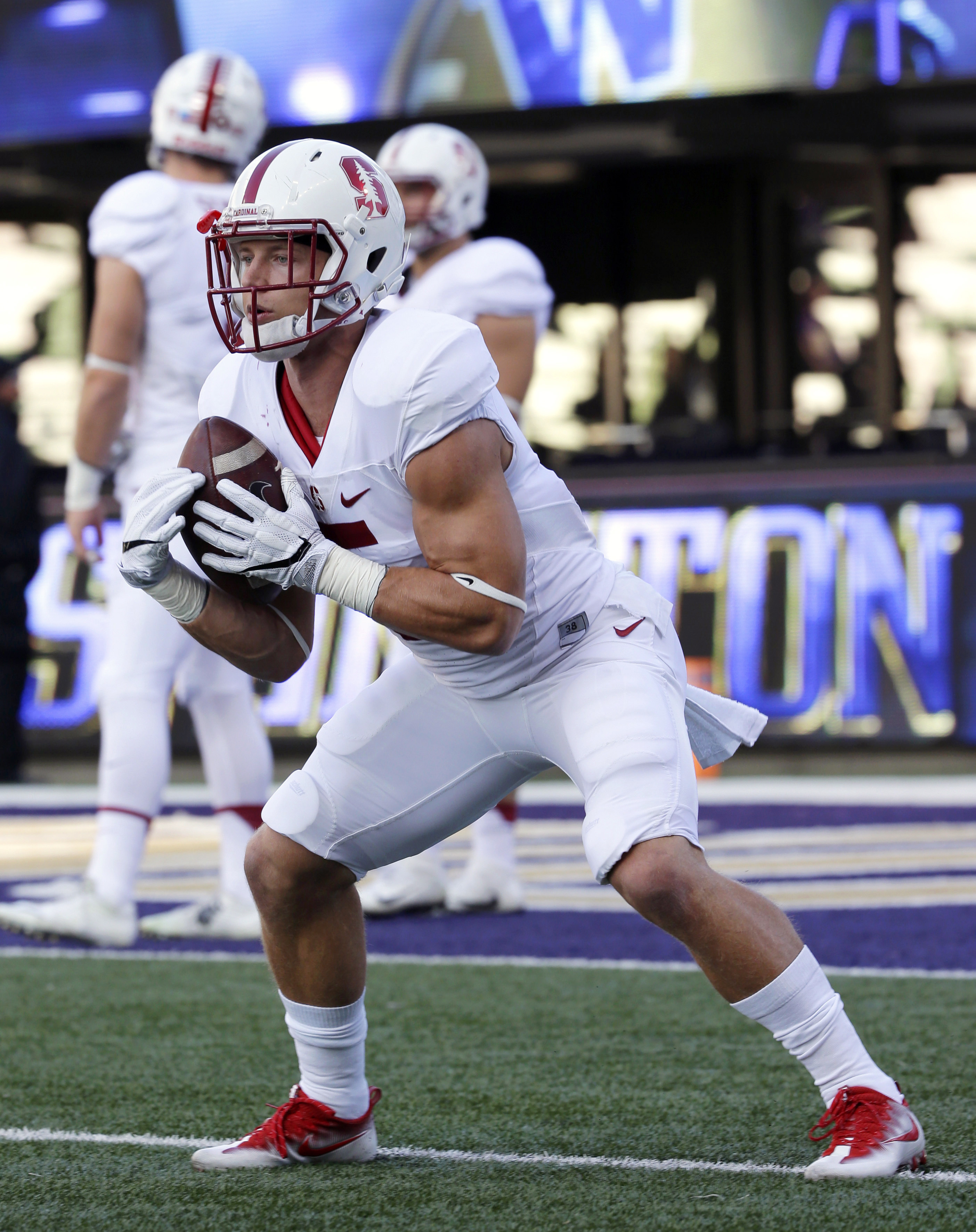 Stanford tight running back Christian McCaffrey warms up before an NCAA college football game against Washington, Friday, Sept. 30, 2016, in Seattle. (AP Photo/Ted S. Warren)