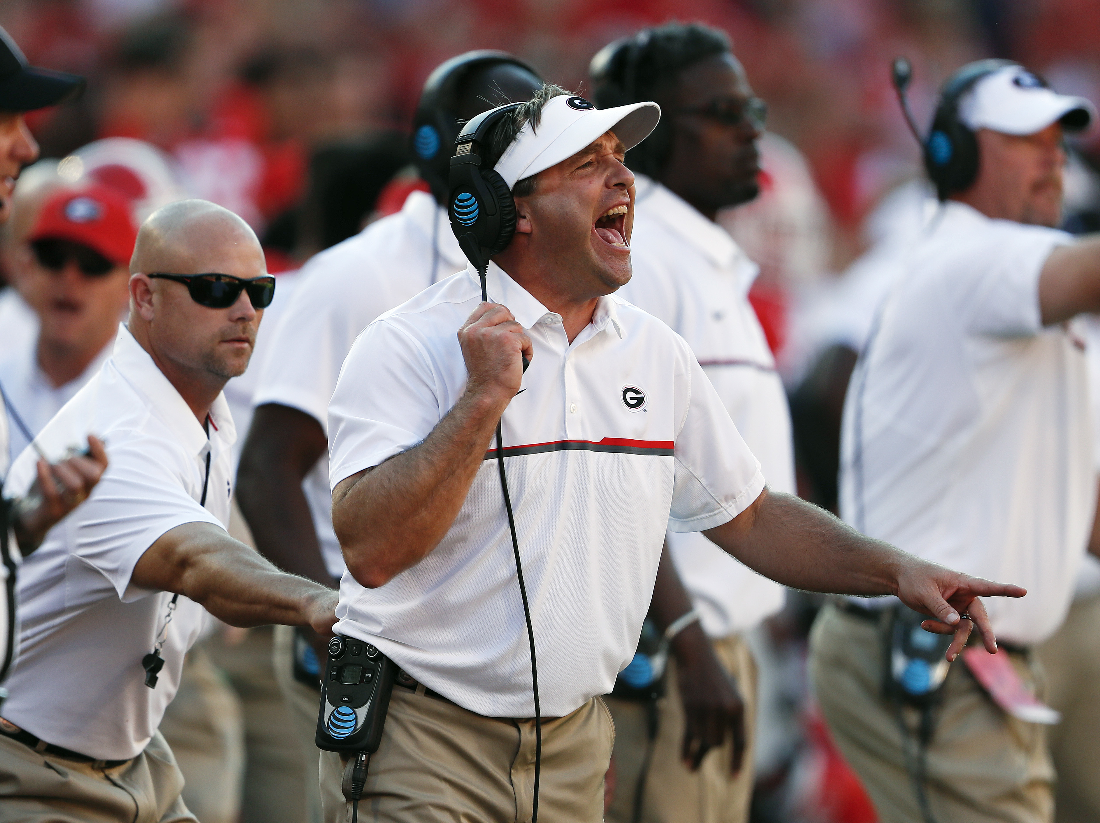 Georgia head coach Kirby Smart yells from the sidelines in the second half of an NCAA college football game against Tennessee Saturday, Oct. 1, 2016, in Athens, Ga. Tennessee  won 34-31. (AP Photo/John Bazemore)
