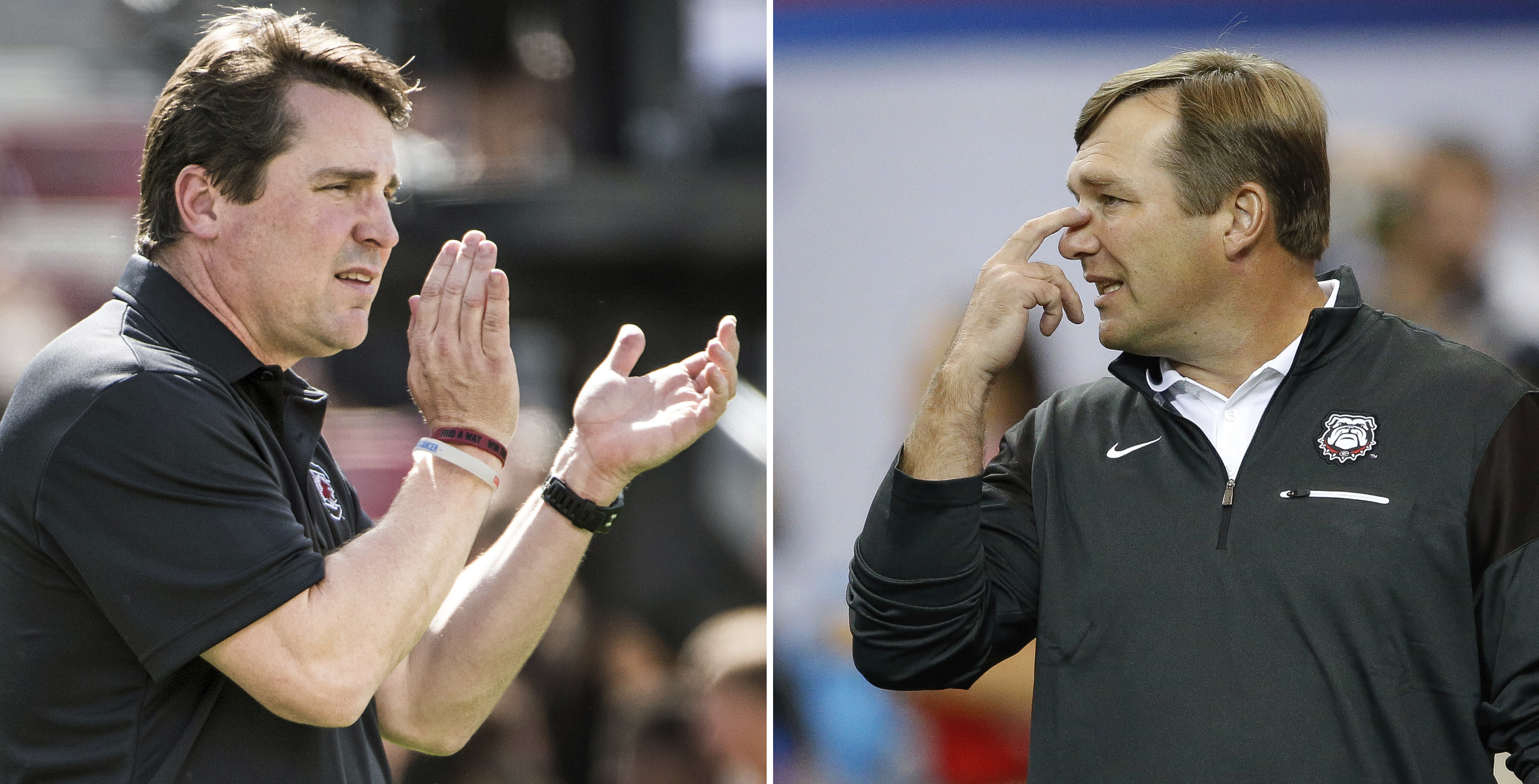 FILE - At left, in a Sept. 17, 2016, file photo, South Carolina head coach Will Muschamp communicates with players before an NCAA college football game against East Carolina, in Columbia, S.C. At right, in a Sept. 3, 2016, file photo, Georgia head coach K