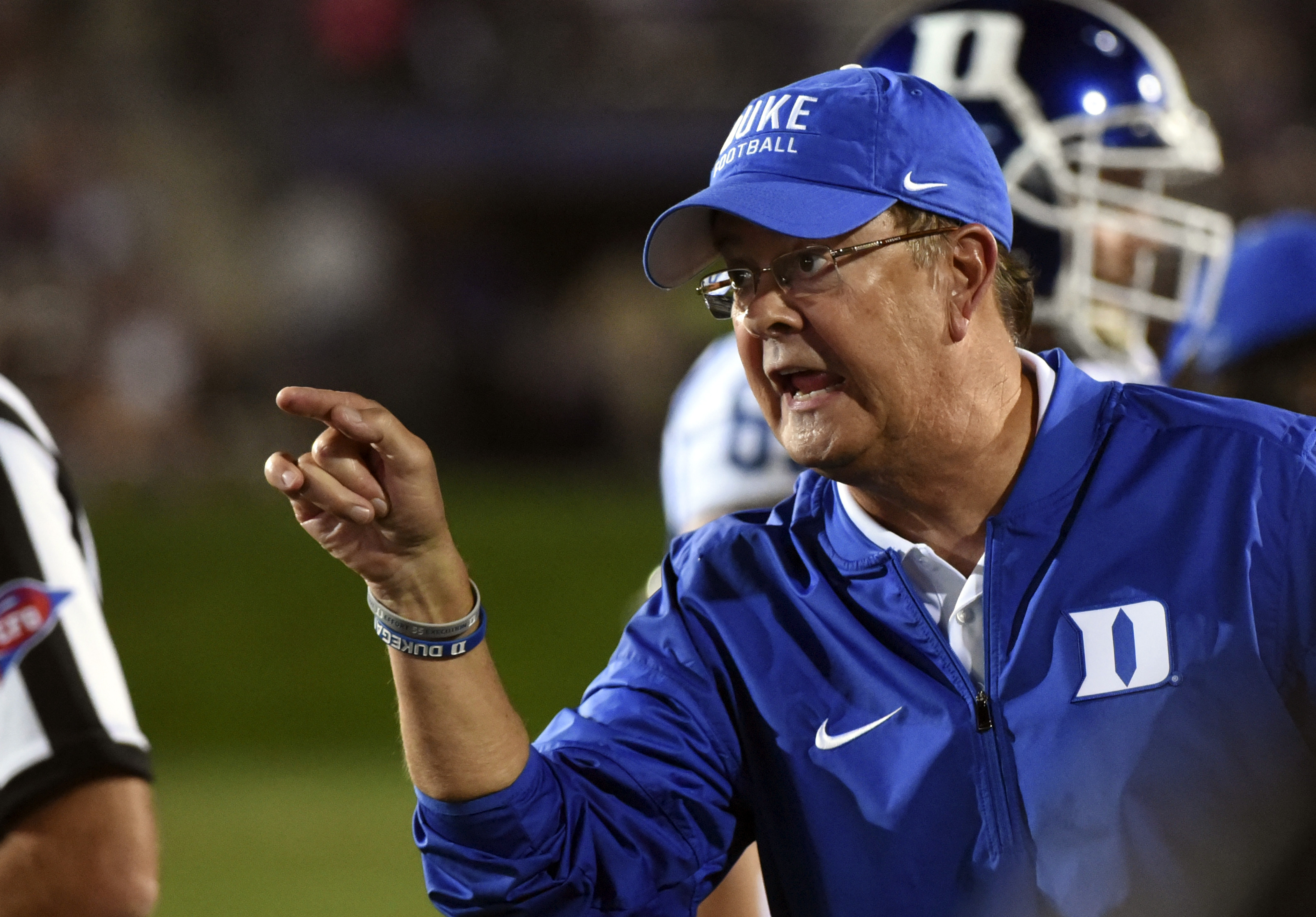 FILE - In this Sept. 17 2016, file photo, Duke head coach David Cutcliffe argues the incomplete pass call after Northwestern cornerback Montre Hartage broke up a pass in the end zone thrown to Duke wide receiver Anthony Nash during the second half of an N