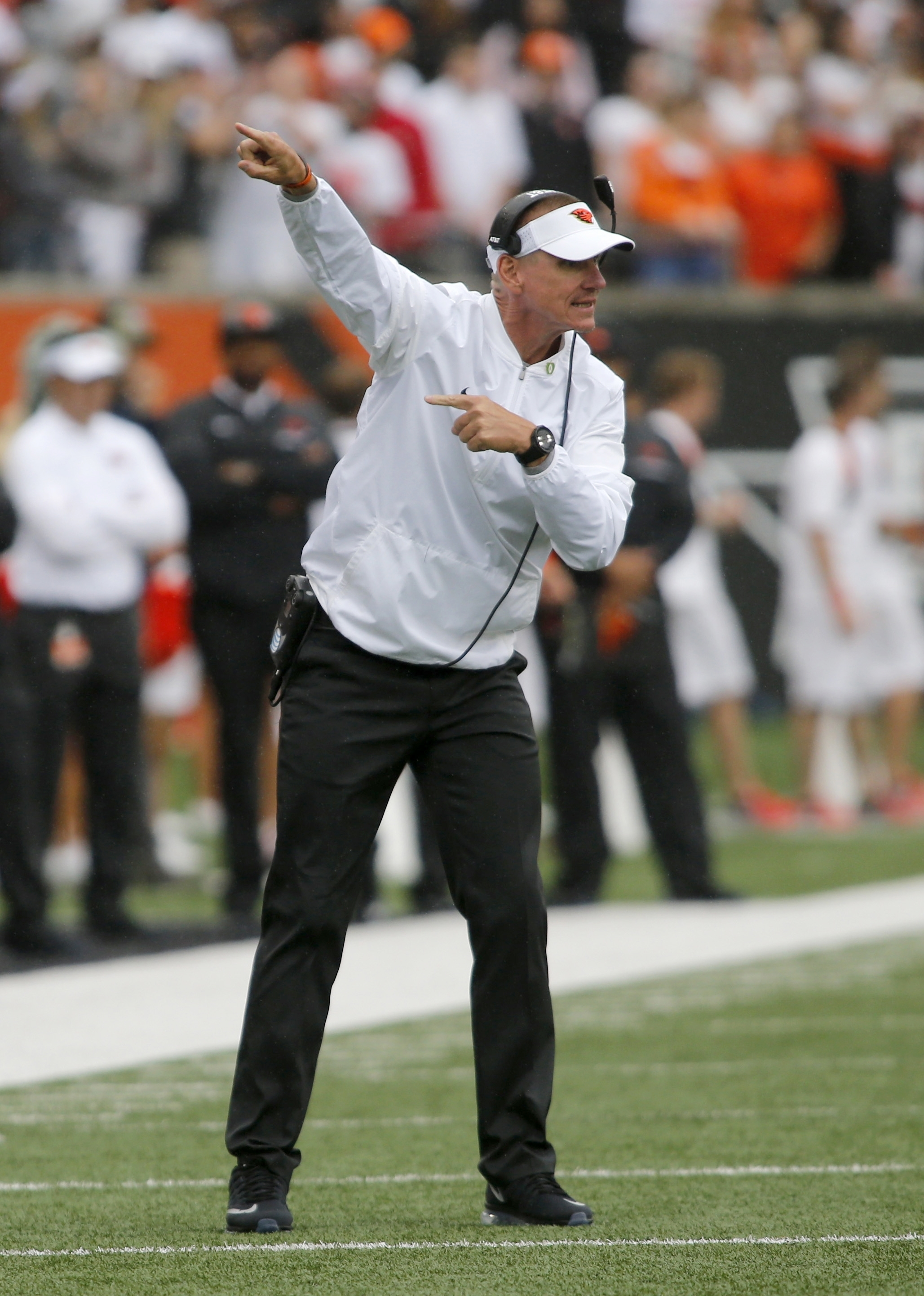 FILE--In this Sept. 17, 2016, file photo, Oregon State coach Gary Andersen gestures during the team's NCAA college football game in Corvallis, Ore. Oregon State is still looking for its first conference win as it faces California in Corvallis on Saturday,