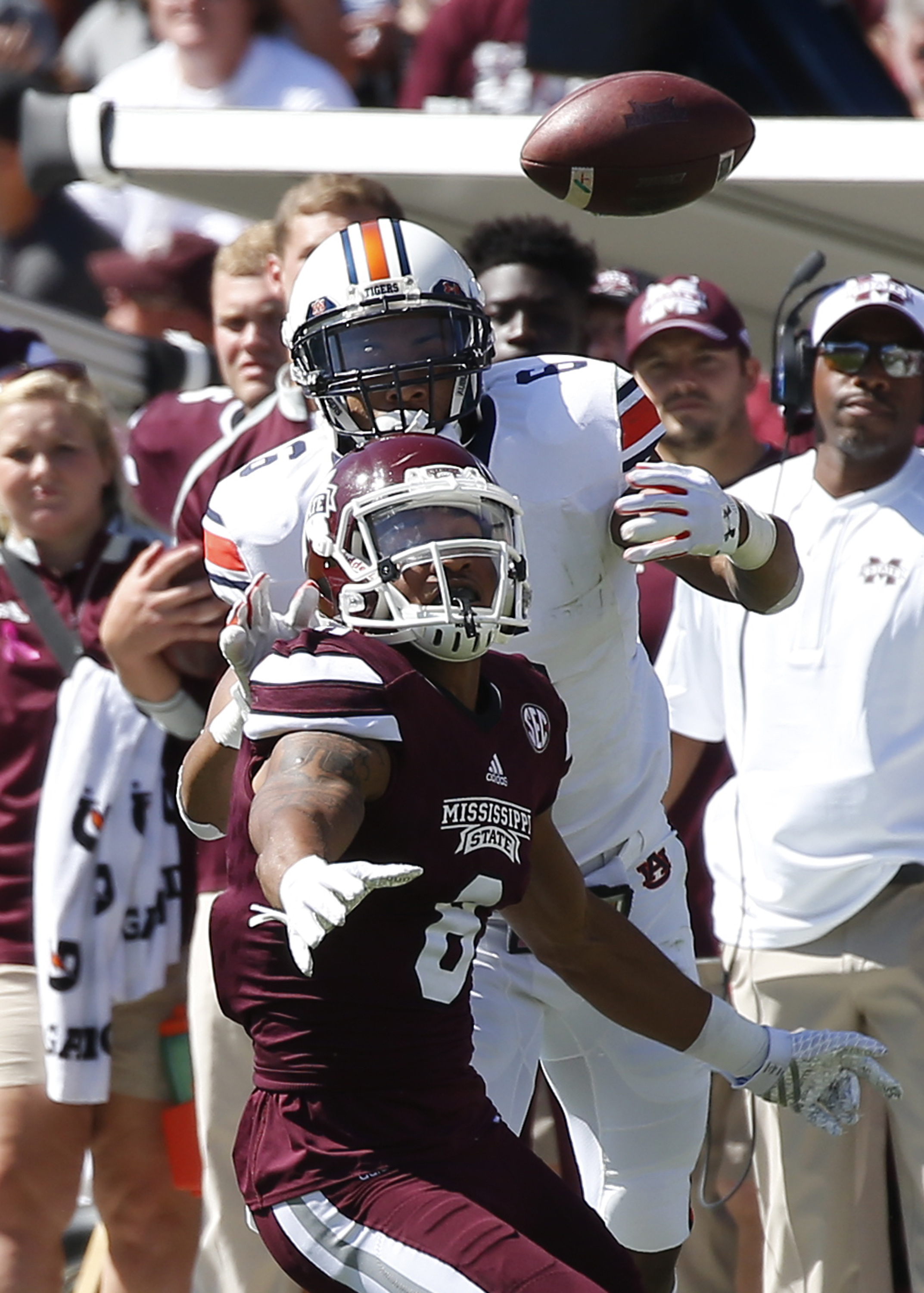 Mississippi State wide receiver Fred Ross (8) has a pass knocked away by Auburn defensive back Carlton Davis (6) in the first half of an NCAA college football game, Saturday, Oct. 8, 2016, in Starkville, Miss.  (AP Photo/Rogelio V. Solis)