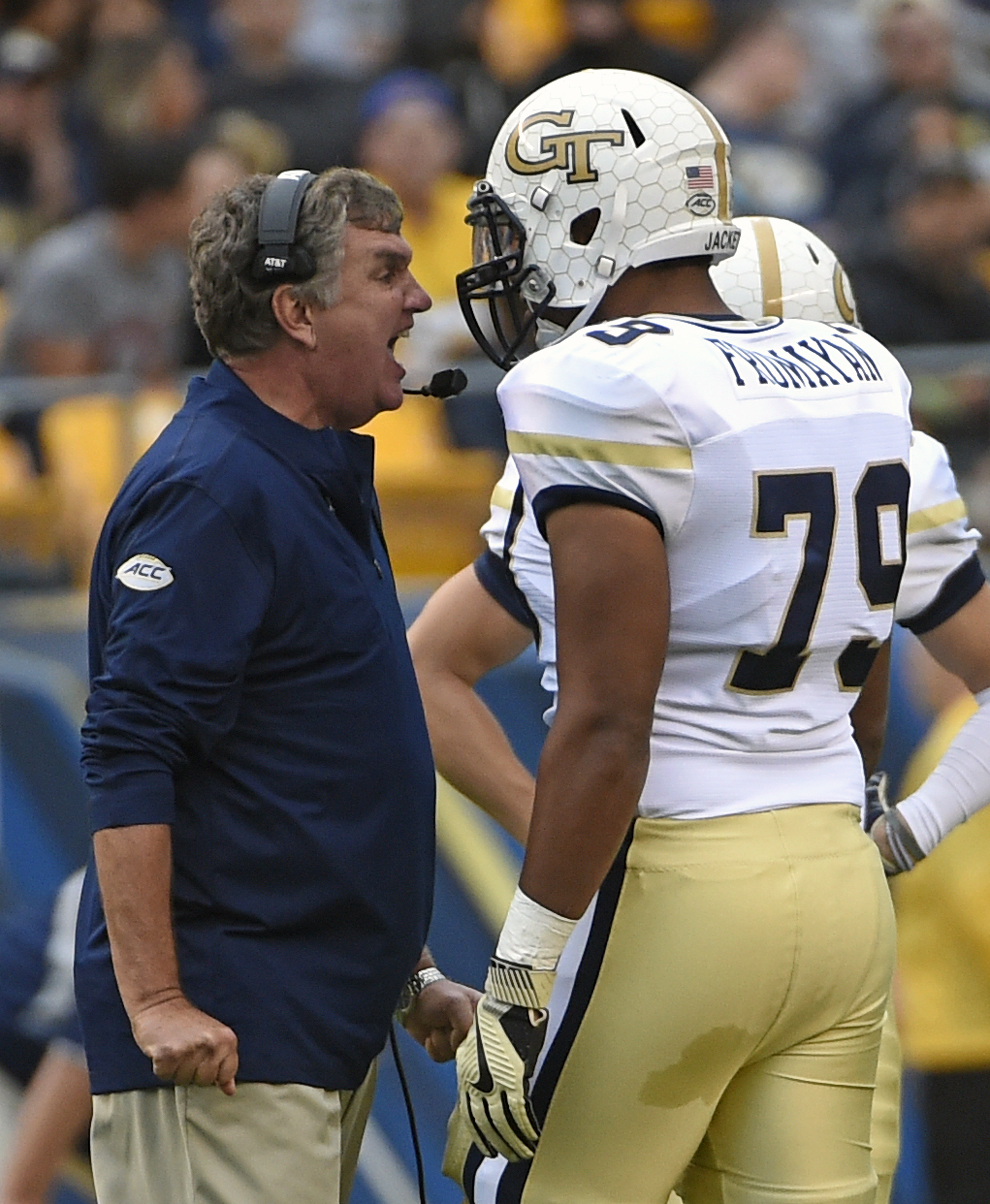 Georgia Tech head coach Paul Johnson shouts at offensive lineman Eason Fromayan (79) during the second half of an NCAA college football game in Pittsburgh, Saturday, Oct. 8, 2016. (AP Photo/Fred Vuich)