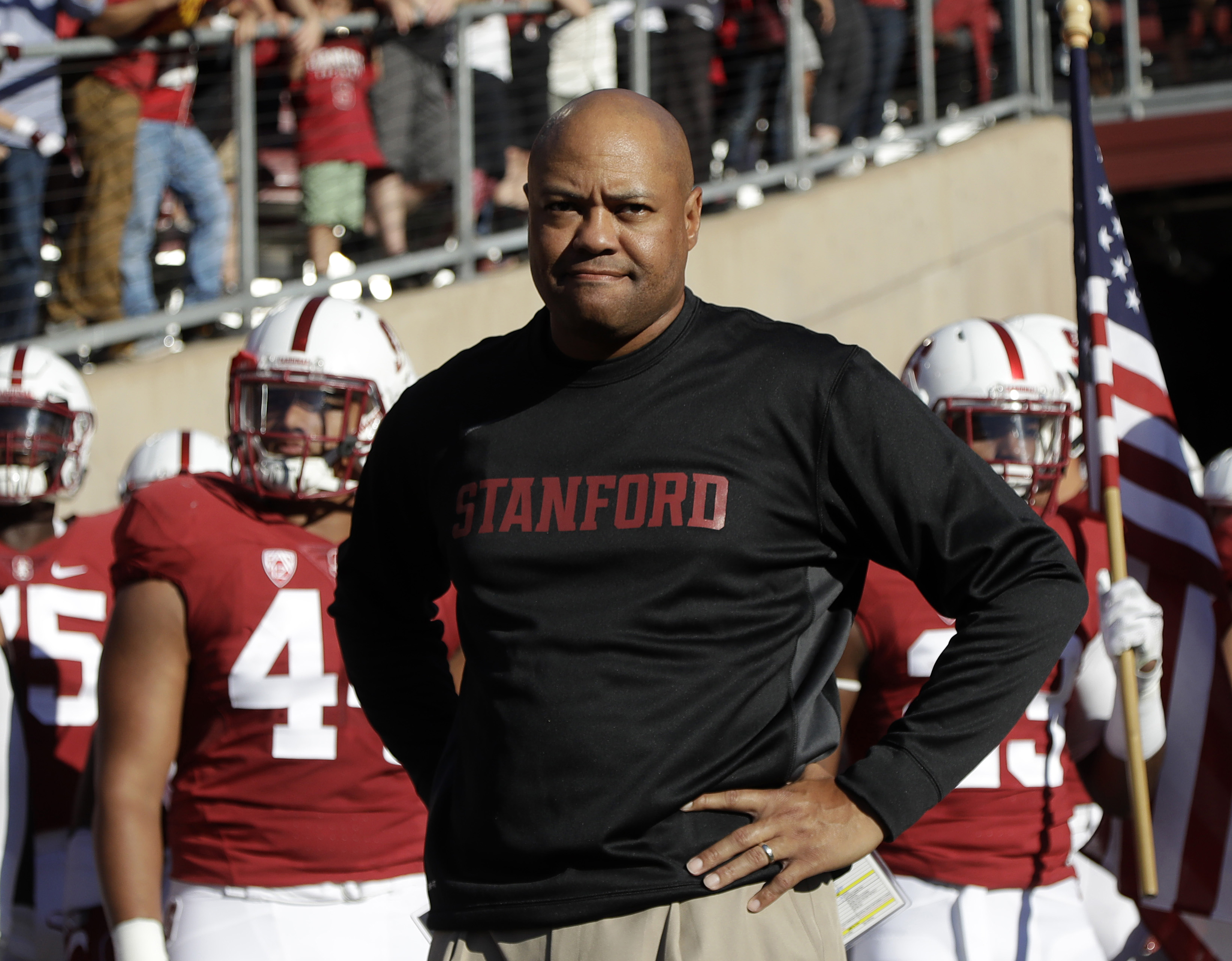 FILE - In this Sept. 17, 2016, file photo, Stanford head coach David Shaw prepares to enter the field with his team before an NCAA college football game against Southern California, in Stanford, Calif. Stanford vs. Notre Dame looked like a big game before
