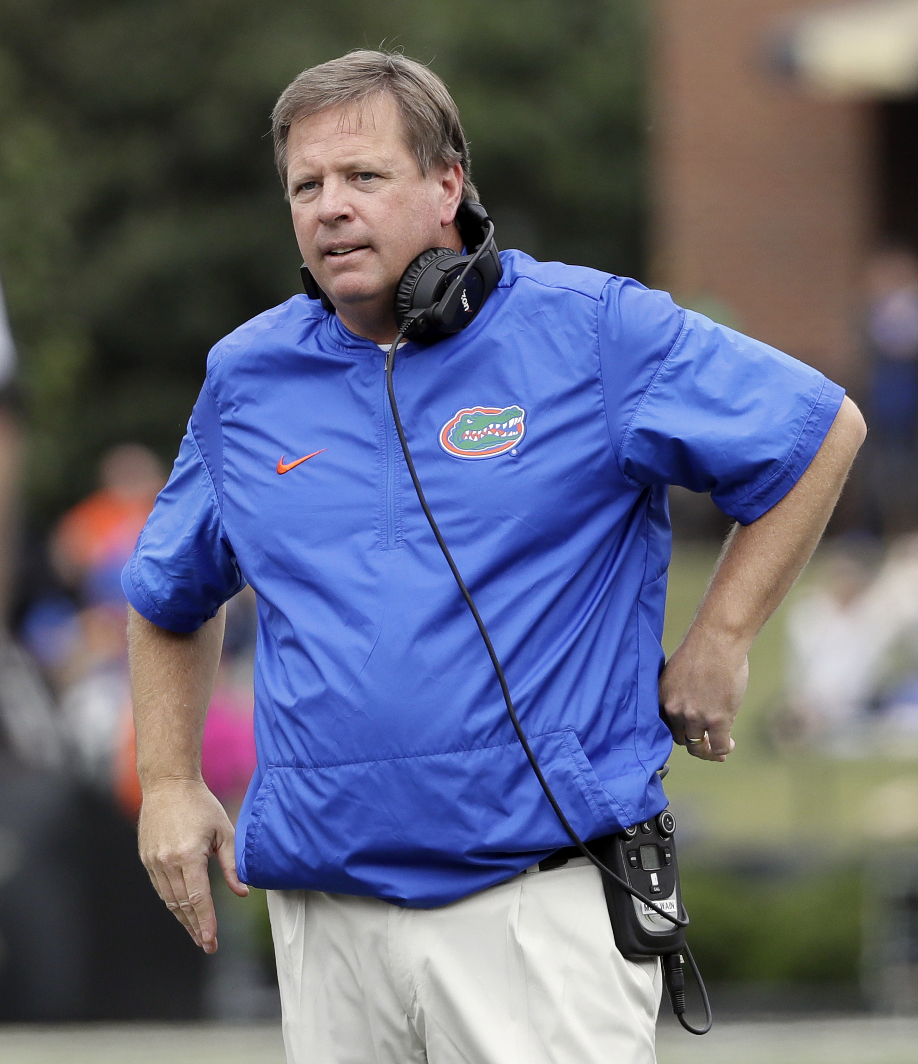 FILE - In this Oct. 1, 2016, file photo, Florida head coach Jim McElwain listens as an official makes a call in the second half of an NCAA college football game against Vanderbilt, in Nashville, Tenn. Missouris last visit to Florida Field was a debacle fo