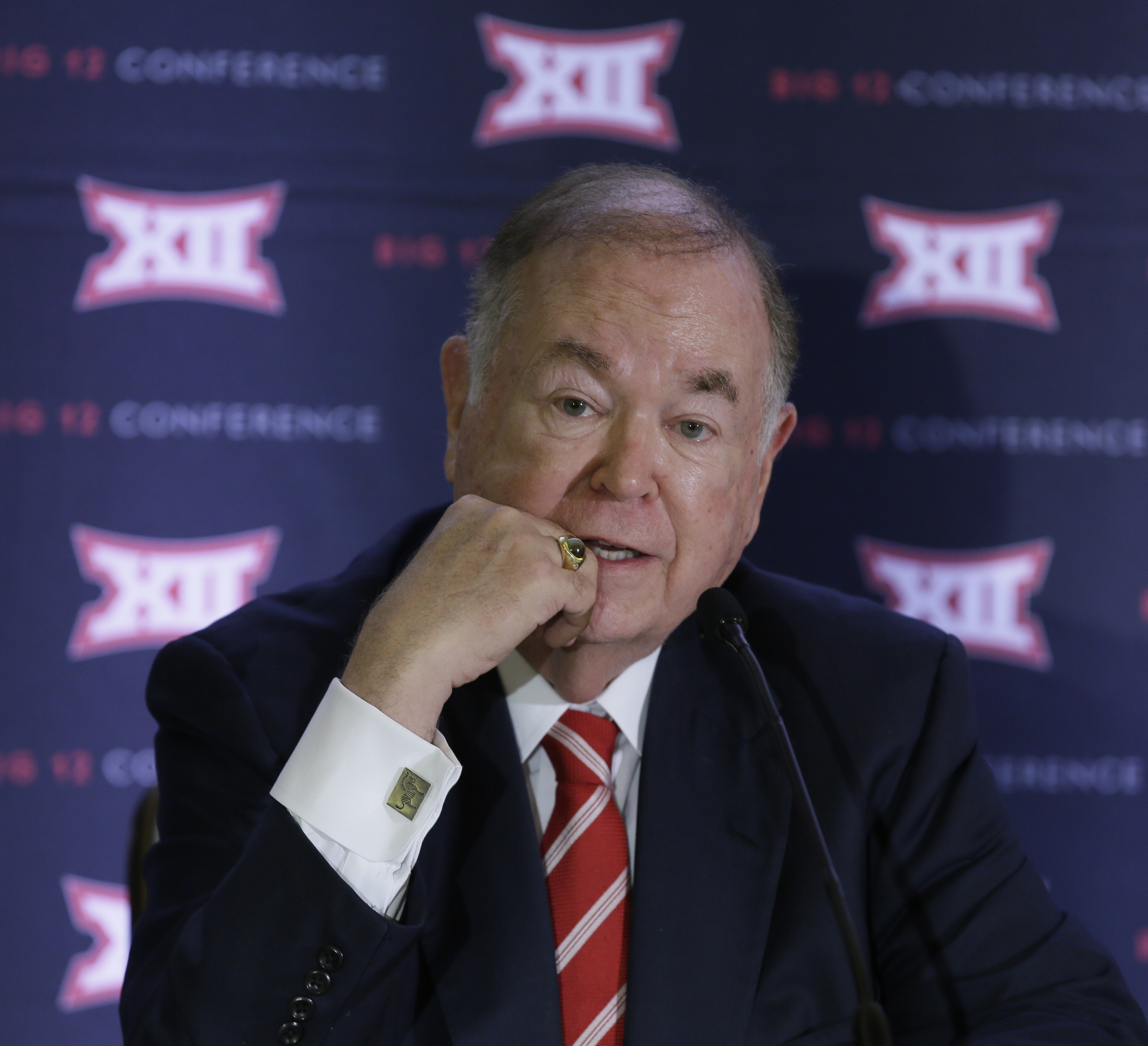 FILE - In this June 2, 2016, file photo, University of Oklahoma President David Boren speak to reporters after the second day of the Big 12 sports conference meetings in Irving, Texas. The Big 12 board of directors meets Monday, Oct. 17, 2016, in Dallas a
