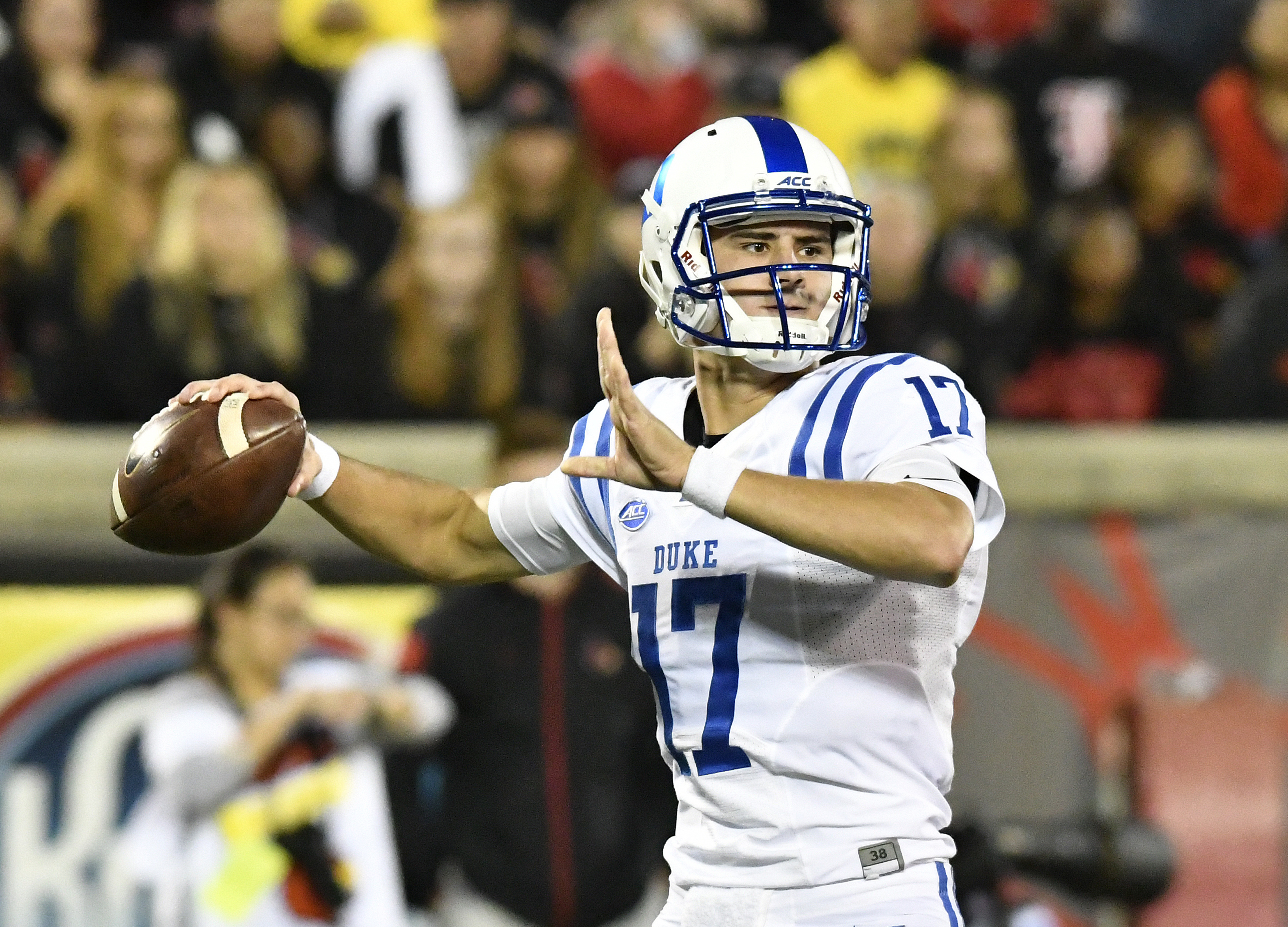 Duke's Daniel Jones (17) makes a pass during the first half of an NCAA college football game against Louisville, Friday, Oct. 14, 2016, in Louisville, Ky. (AP Photo/Timothy D. Easley)