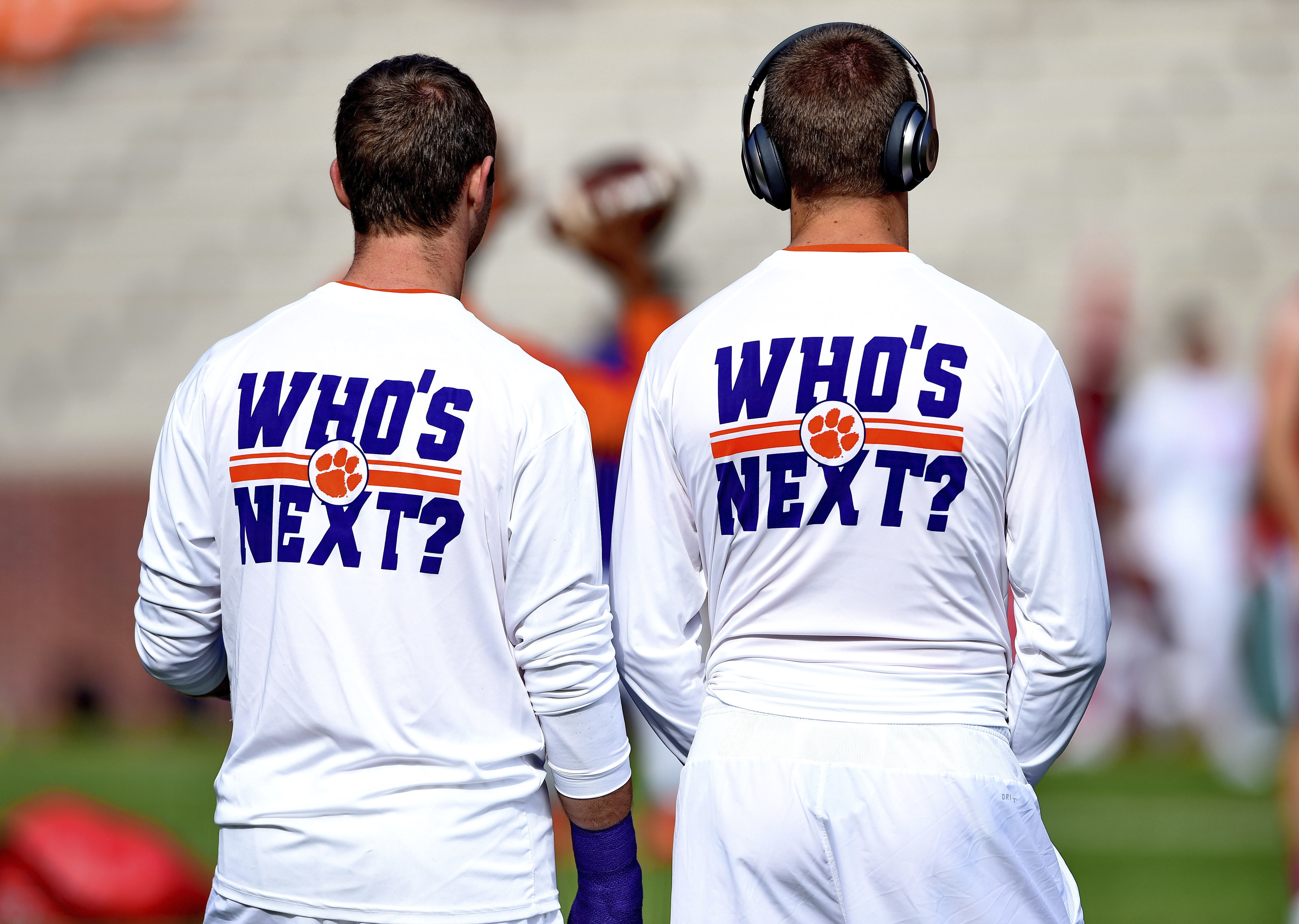 Clemson players watch drills before the start of an NCAA college football game against North Carolina State Saturday, Oct. 15, 2016, in Clemson, S.C. (AP Photo/Richard Shiro)
