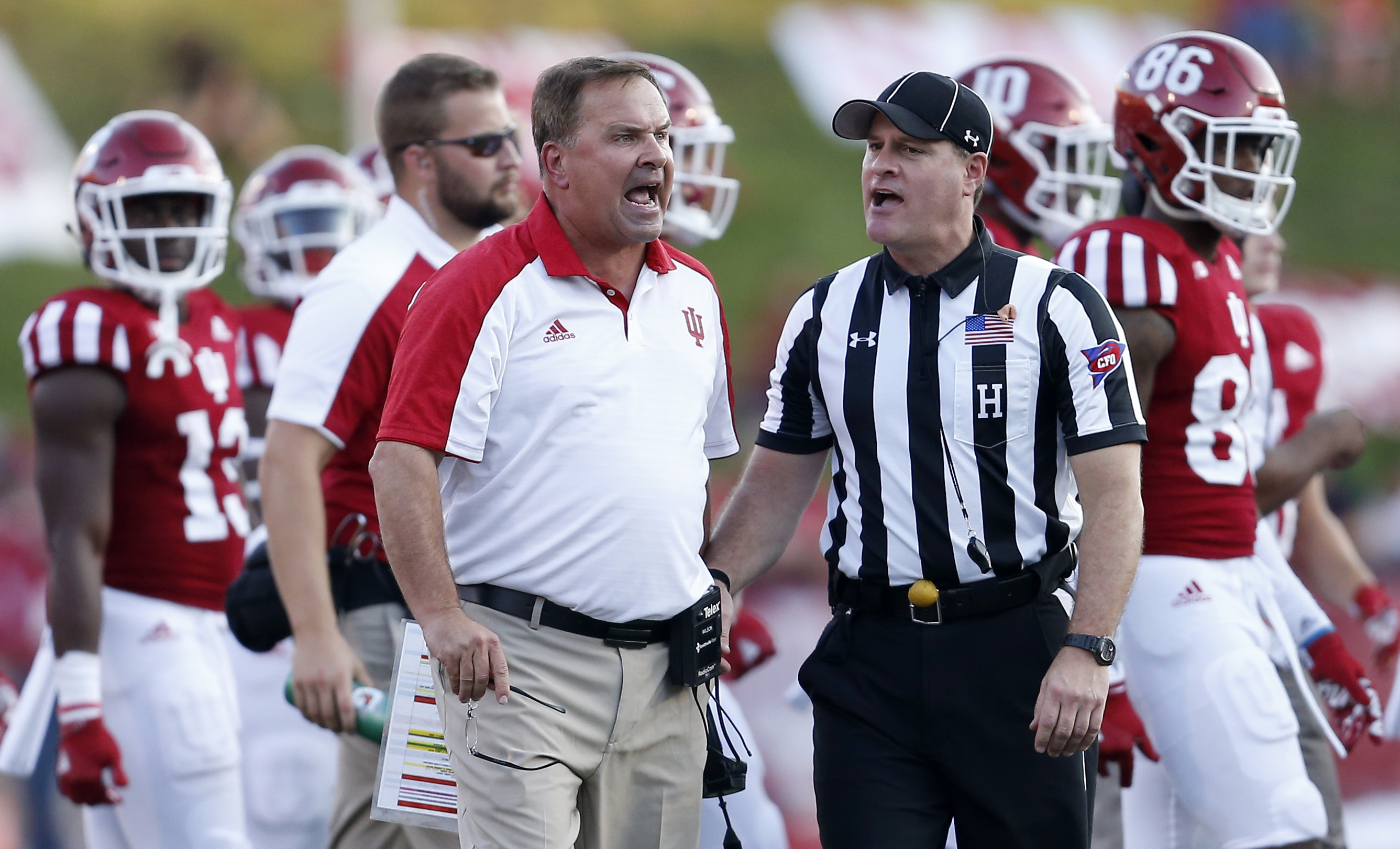 Indiana head coach Kevin Wilson reacts to an official's call during second half action against Nebraska in Bloomington, Ind., Saturday, Oct. 15, 2016. Nebraska won the game 27-22. (AP Photo/Sam Riche)