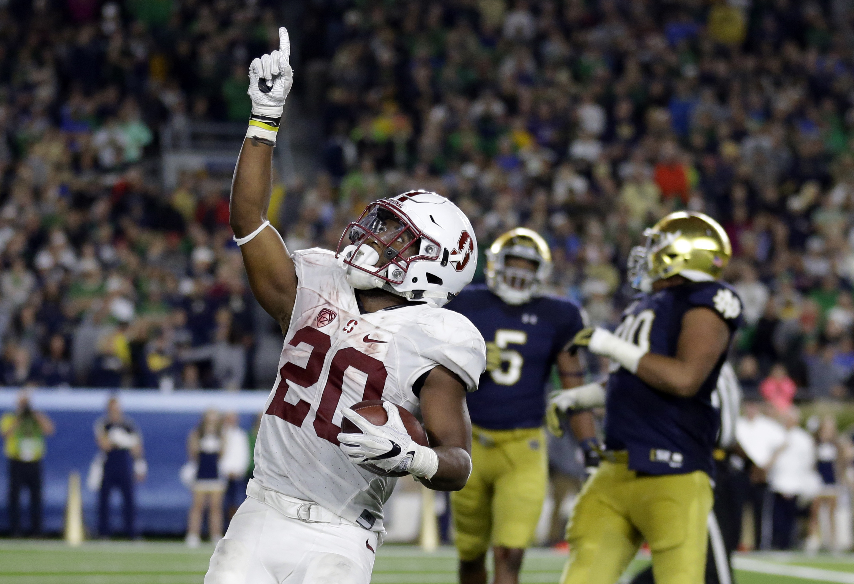 Stanford running back Bryce Love (20) celebrates a 2-point conversion during the second half of an NCAA college football game against Notre Dame in South Bend, Ind., Saturday, Oct. 15, 2016. Stanford defeated Notre Dame 17-10. (AP Photo/Michael Conroy)