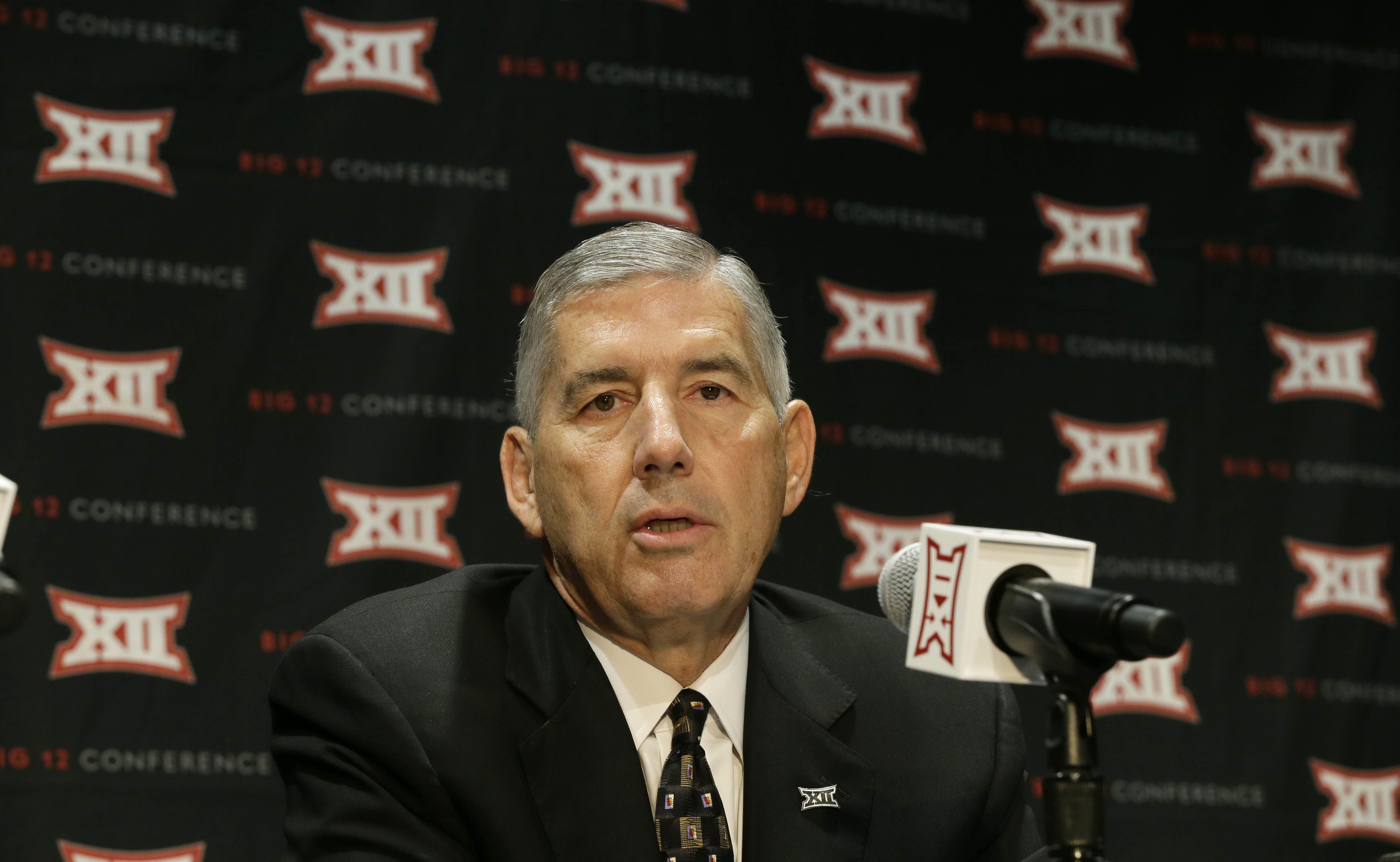 Big 12 Commissioner Bob Bowlsby speaks to reporters after The Big 12 Conference meeting in Grapevine, Texas, Monday, Oct. 17, 2016. The Big 12 Conference has decided against expansion from its current 10 schools after three months of analyzing, vetting an