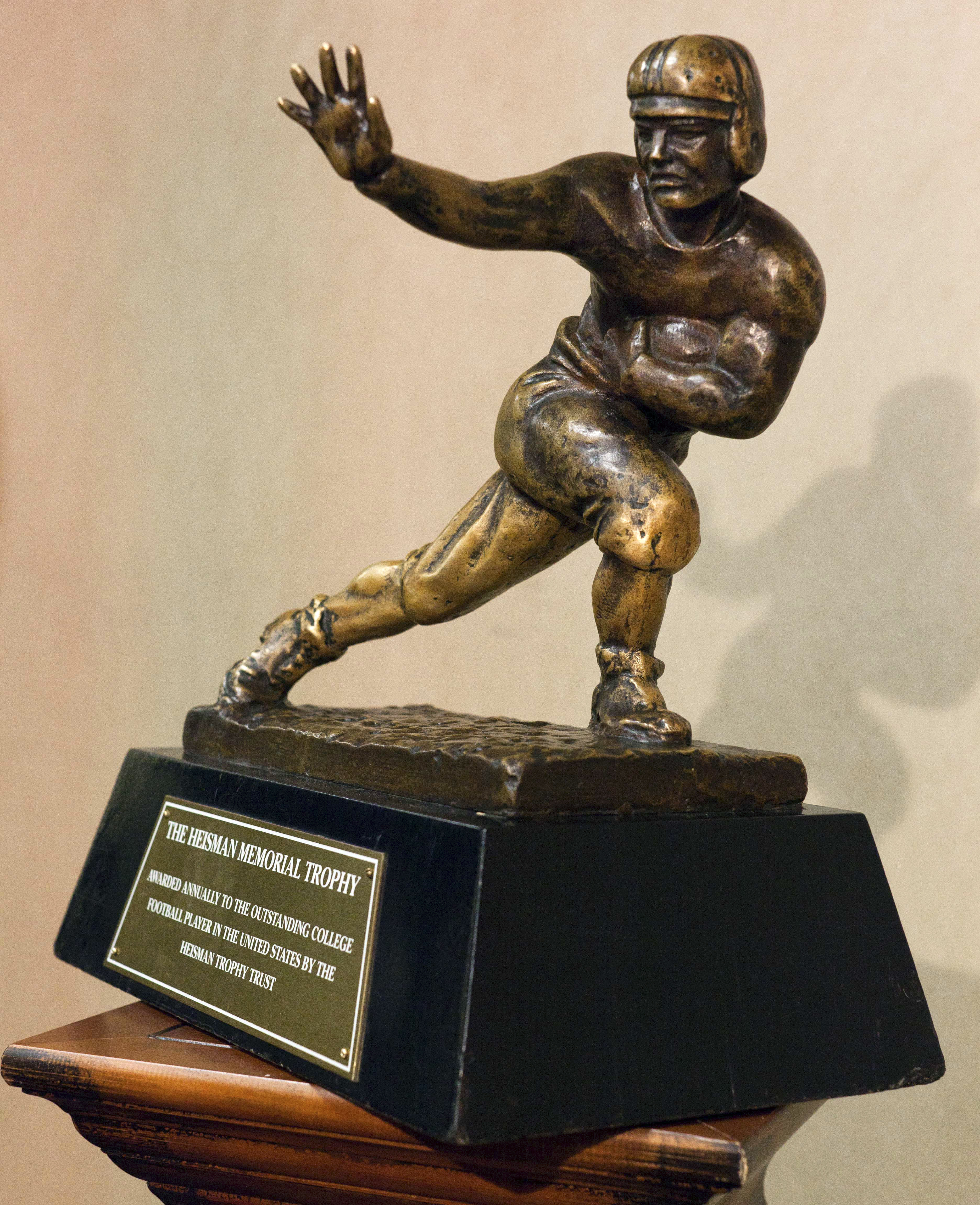 FILE - This is a Dec. 9, 2011 file photo showing the Heisman Trophy in New York. J.T. Barrett was big-time in prime time last week and now he has two more showcase games in the next three weeks to boost his Heisman Trophy hopes. The Ohio State quarterback